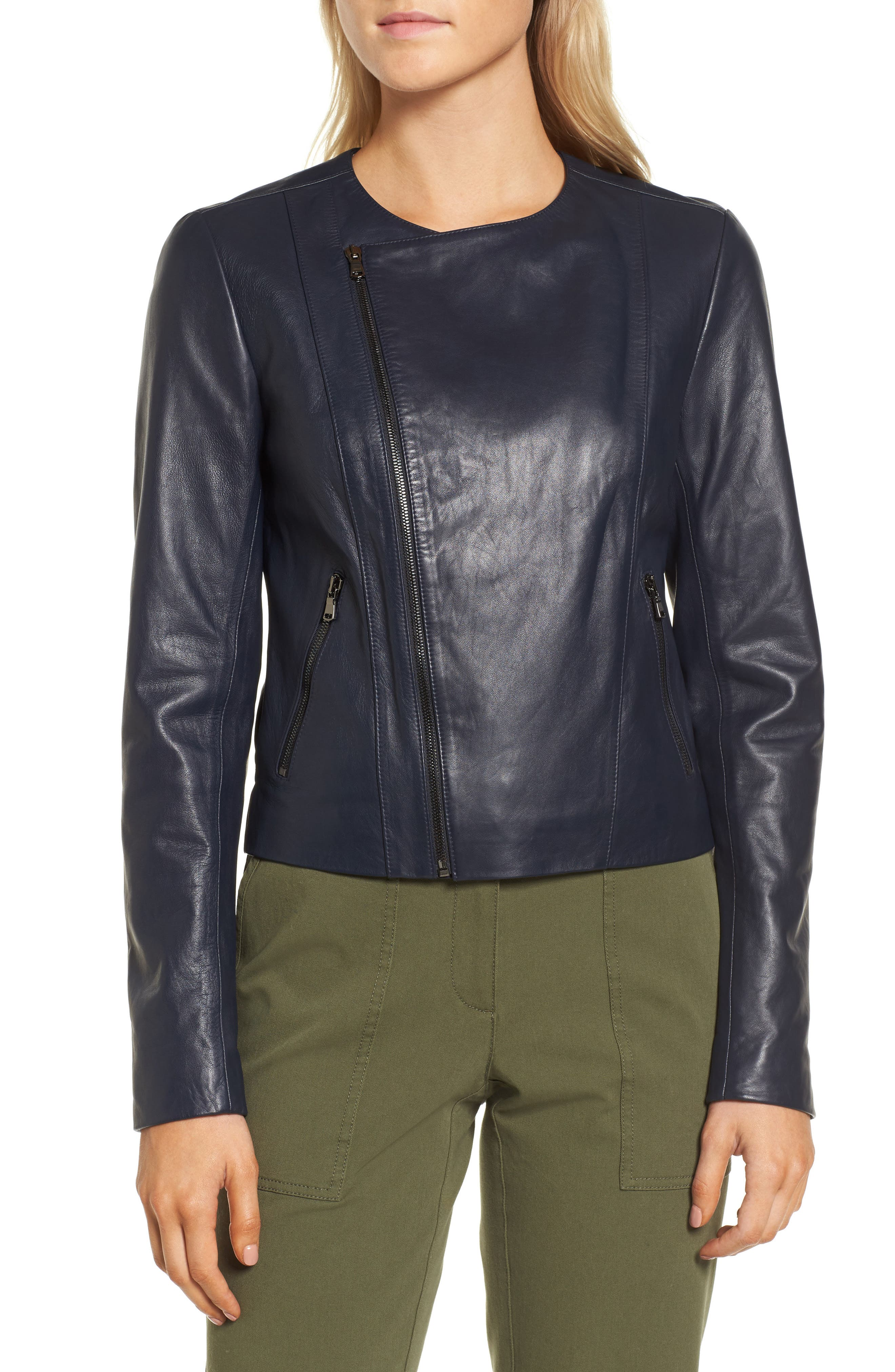 Ruffle Back Leather Jacket,                             Alternate thumbnail 4, color,                             Navy Night
