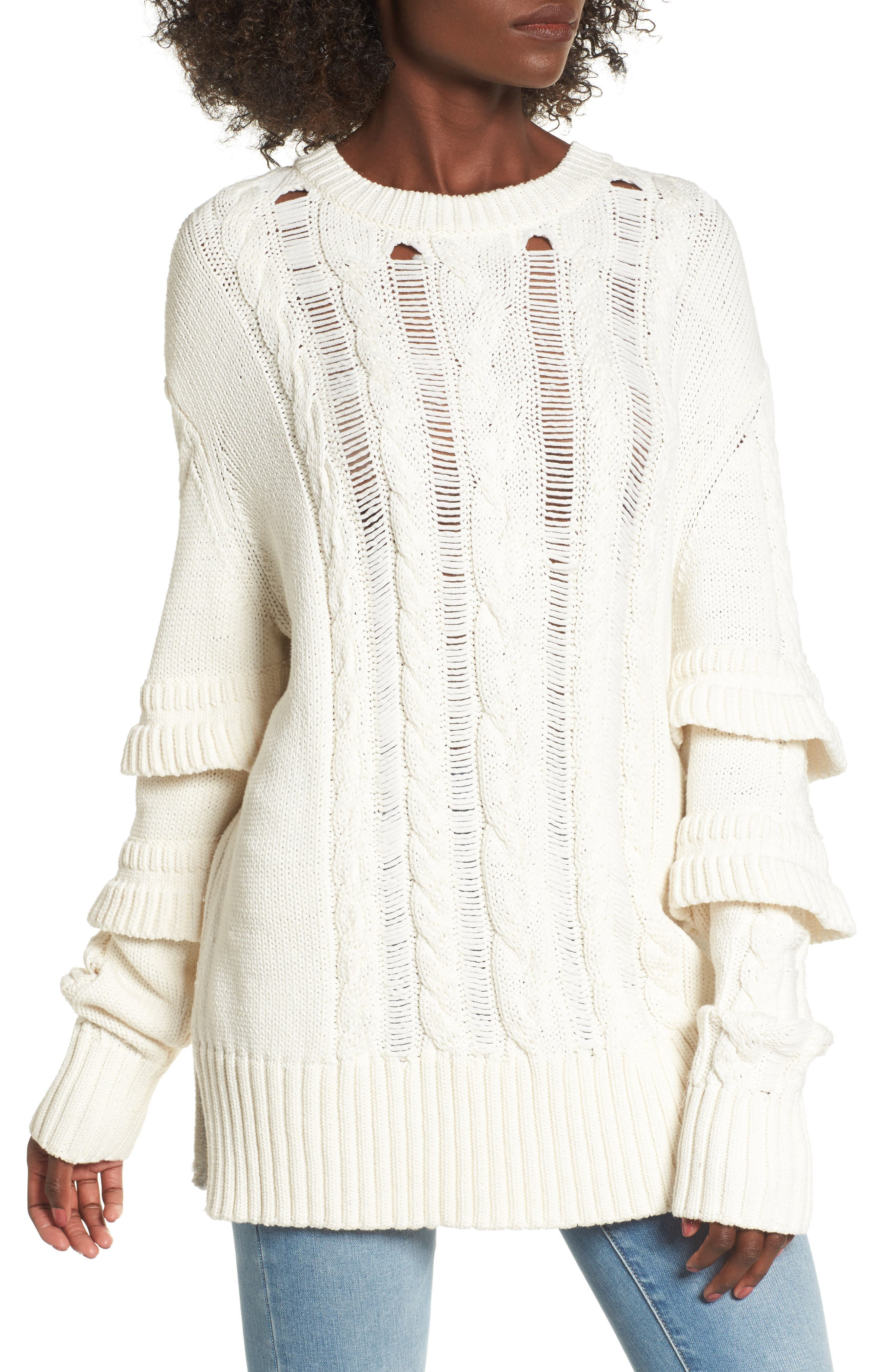Ruffle Sleeve Cable Knit Sweater,                             Main thumbnail 1, color,                             Just For Kicks/ Ivory