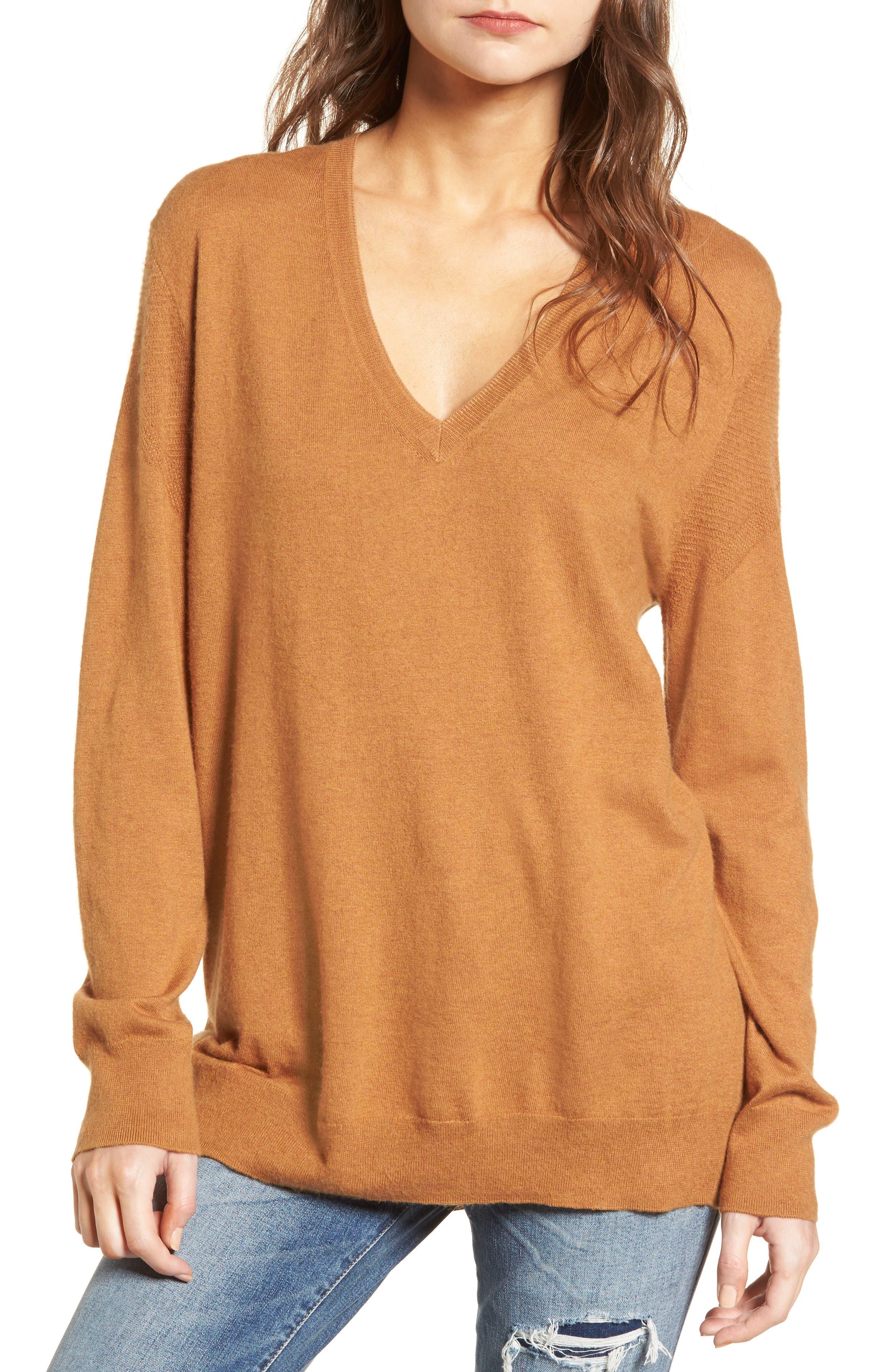 V-Neck Sweater,                             Main thumbnail 1, color,                             Tan Sugar Heather