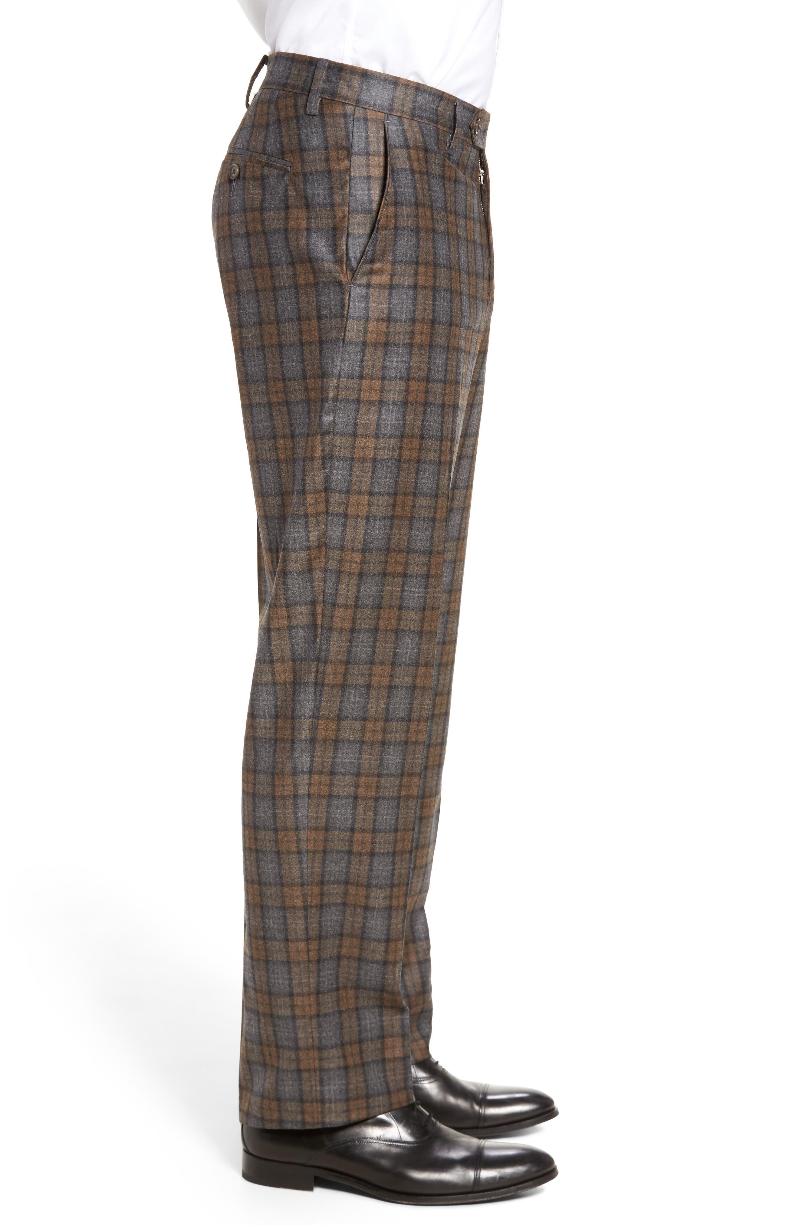 Flat Front Plaid Wool Trousers,                             Alternate thumbnail 3, color,                             Dark Tan