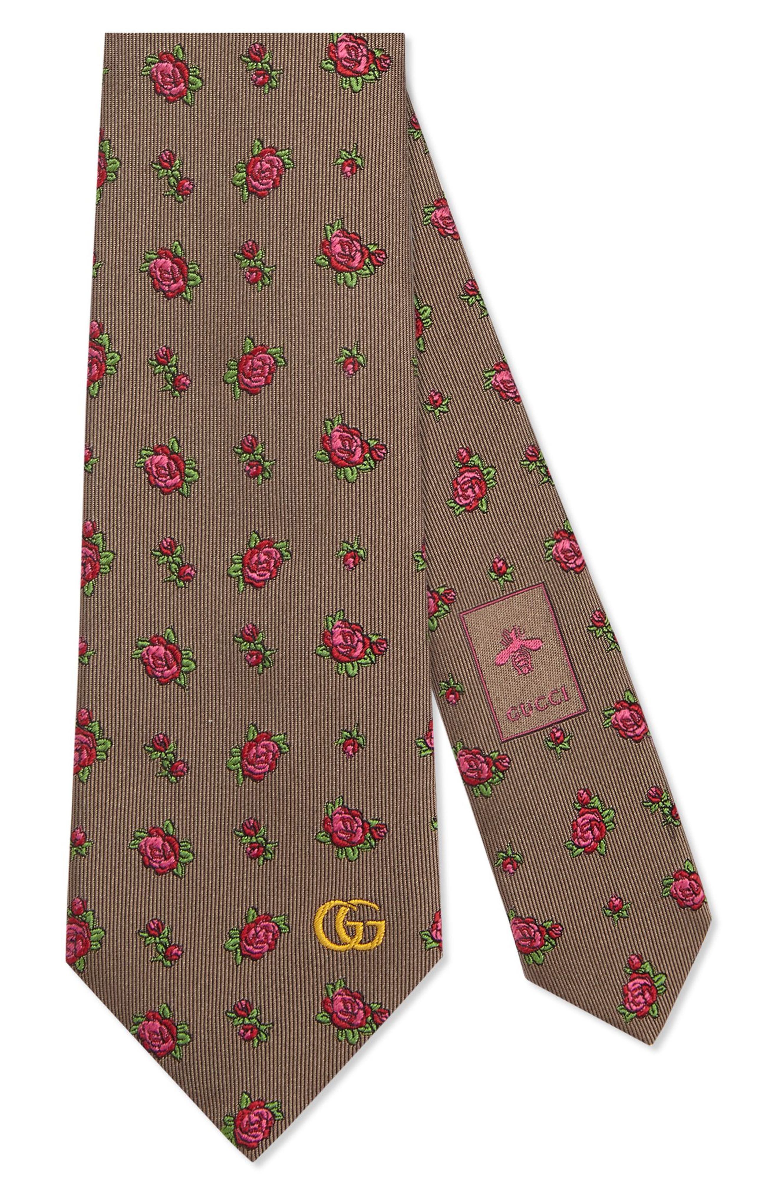 Gucci Rosebuds Logo Silk Jacquard Tie