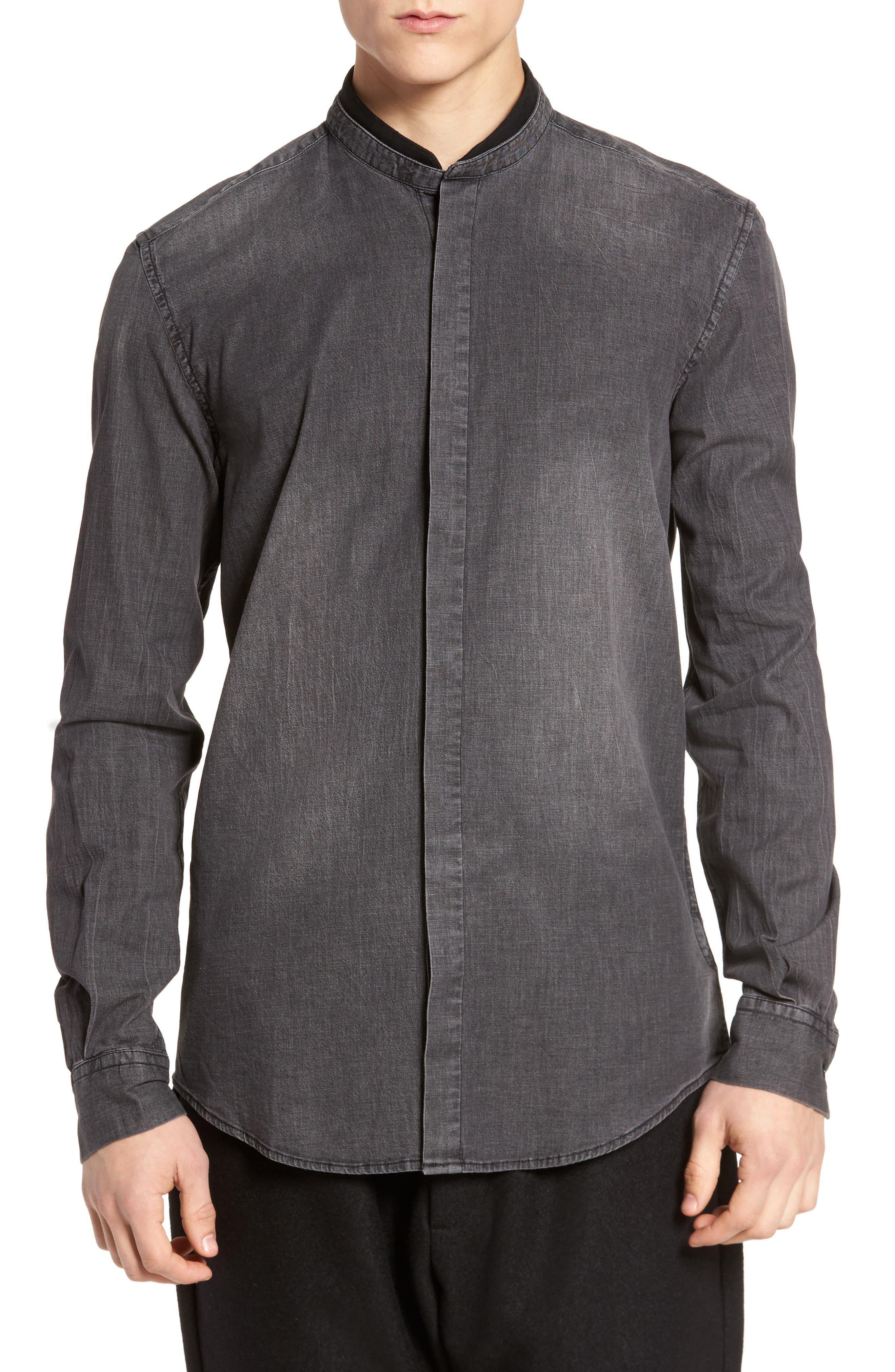 Denim Shirt,                         Main,                         color, Black