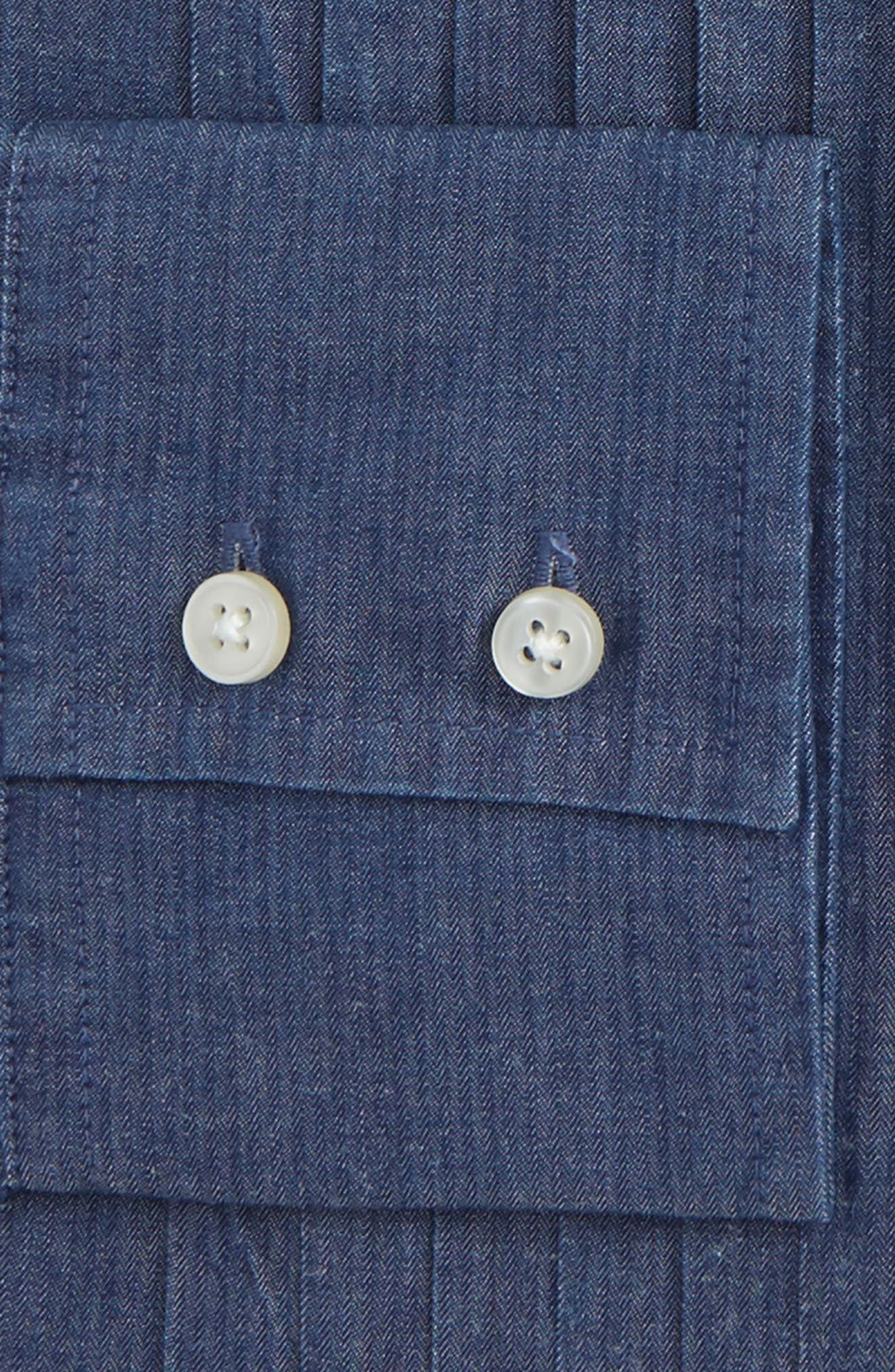 Trim Fit Denim Dress Shirt,                             Alternate thumbnail 2, color,                             Denim