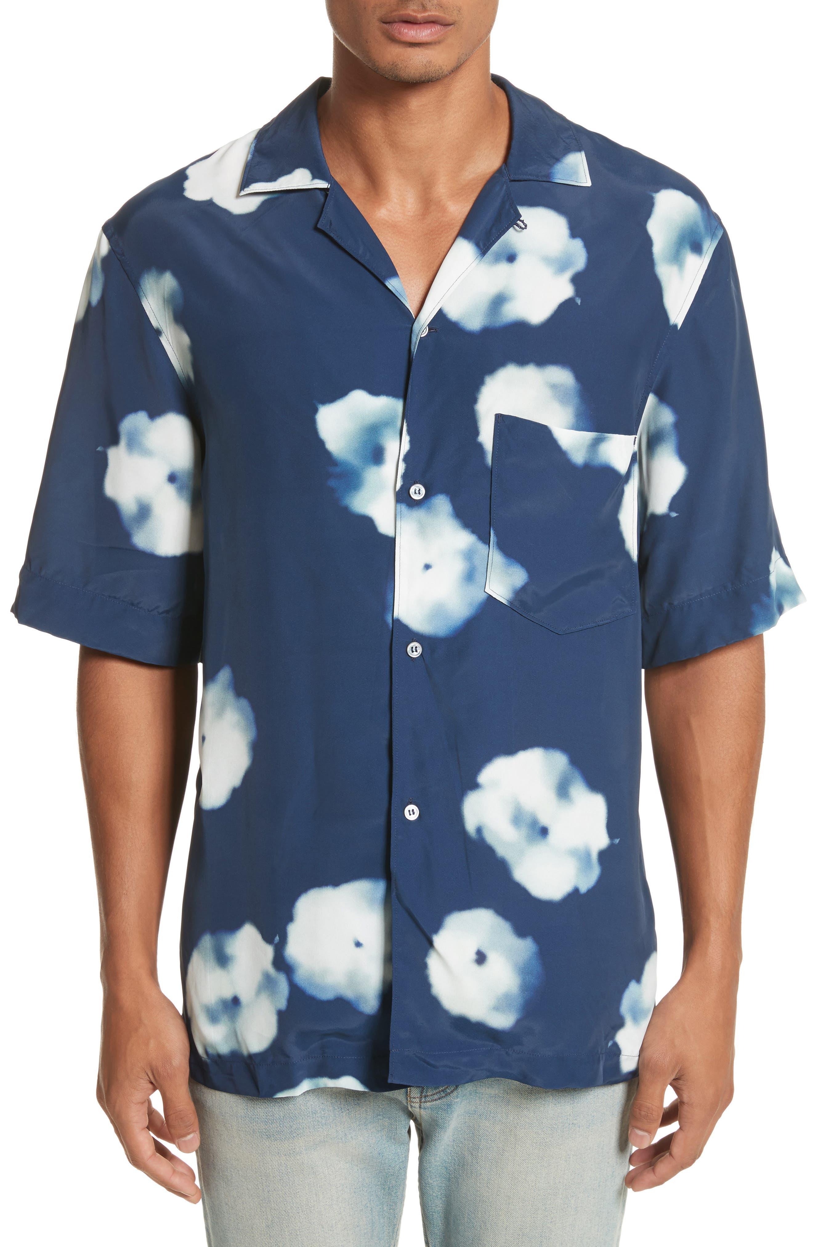 Elms Flower Print Shirt,                             Main thumbnail 1, color,                             Indigo Blue