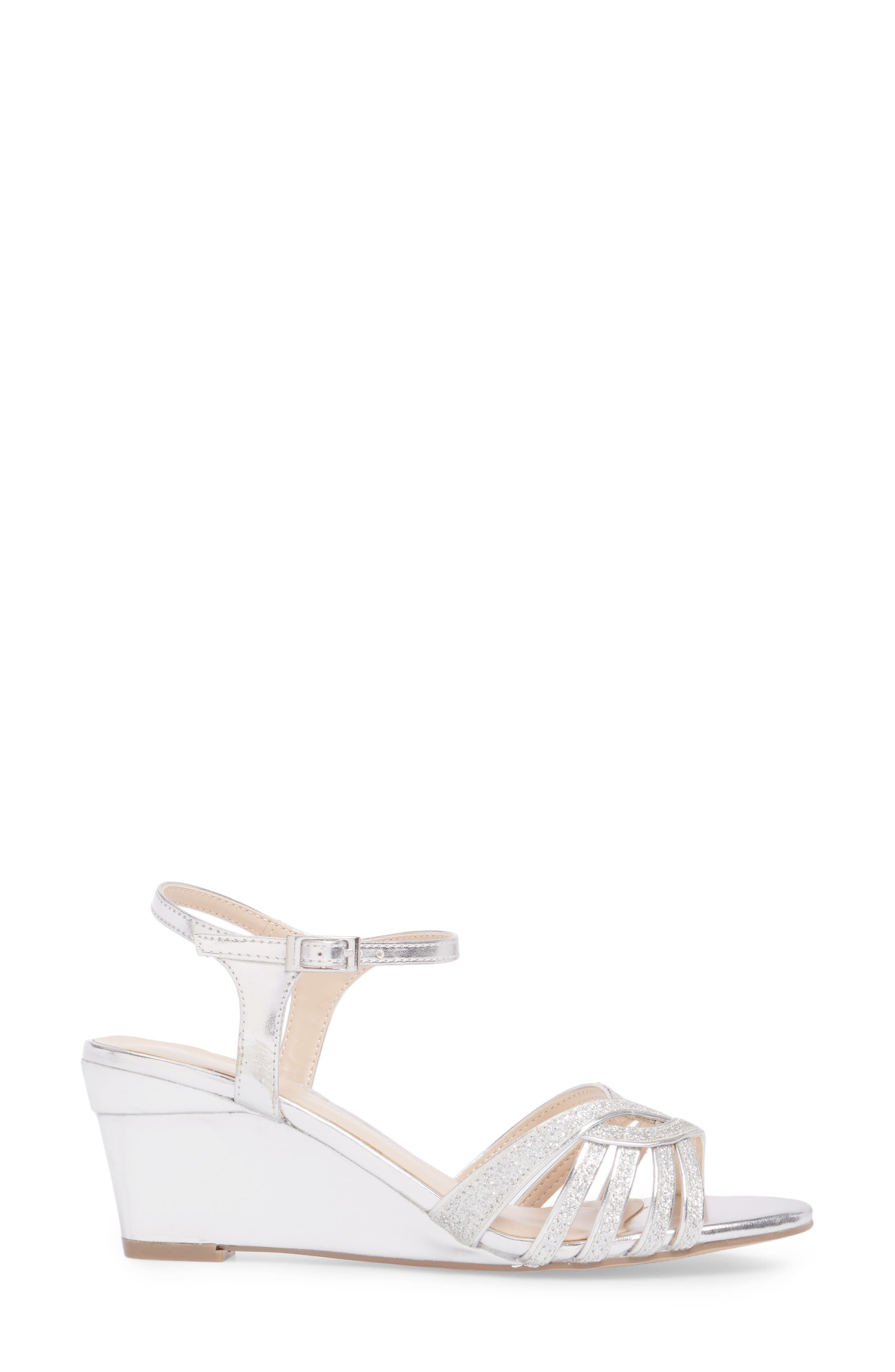 Karianne Wedge Sandal,                             Alternate thumbnail 3, color,                             Silver