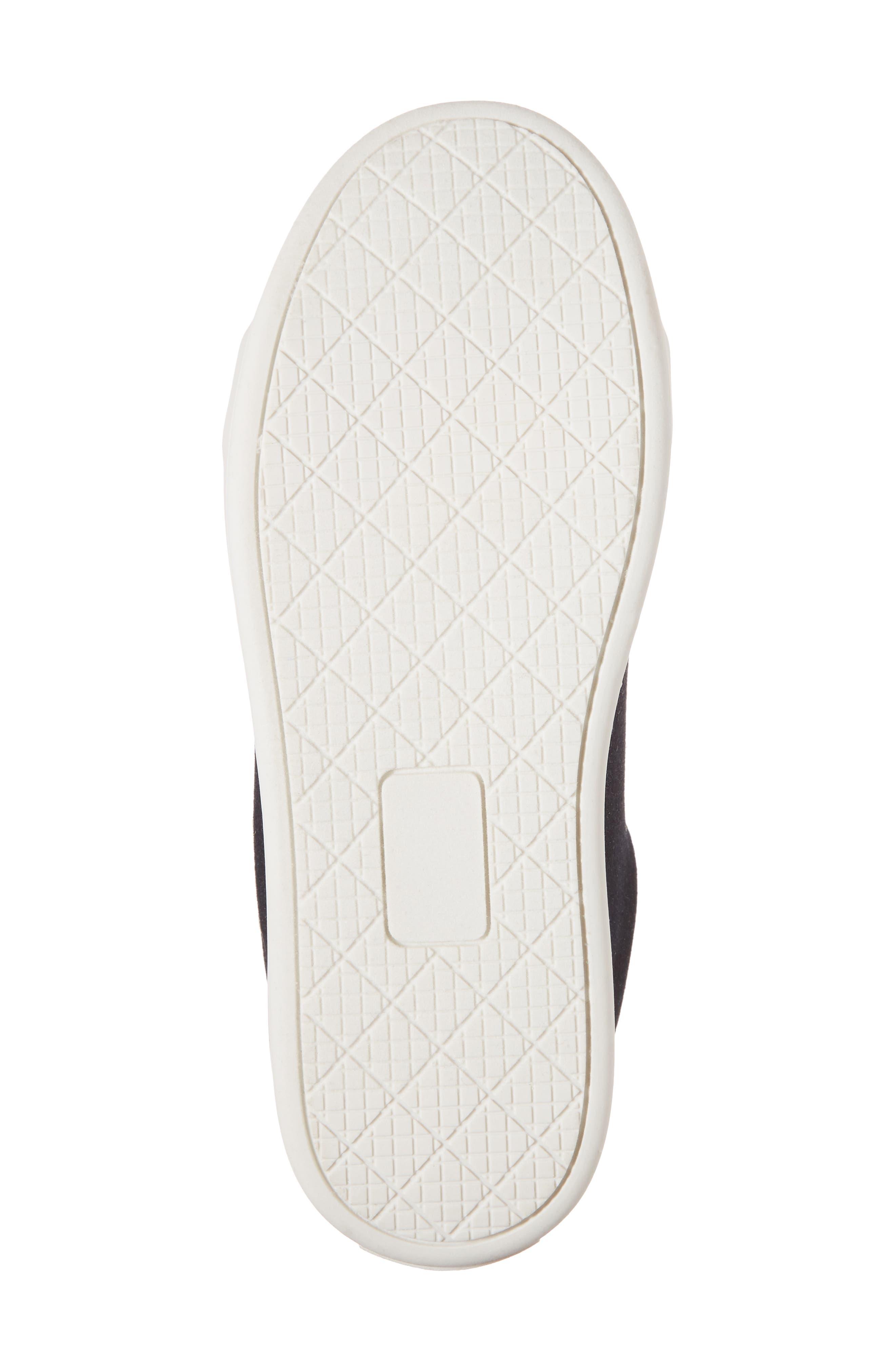 Cynthia Leya Faux Fur Pompom Slip-On Sneaker,                             Alternate thumbnail 6, color,                             Denim