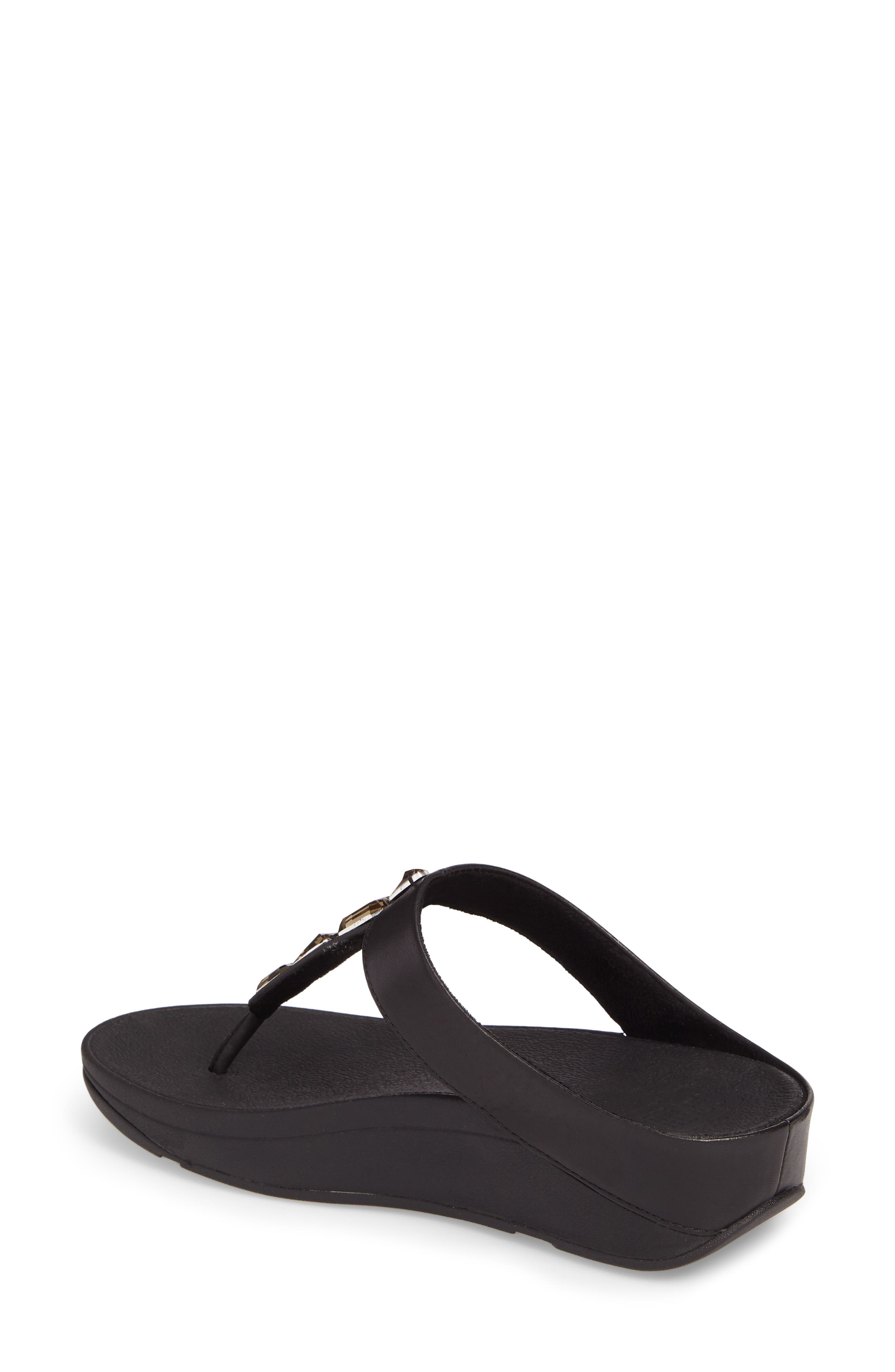 FITFLOP Leather Roka Sandals, Black
