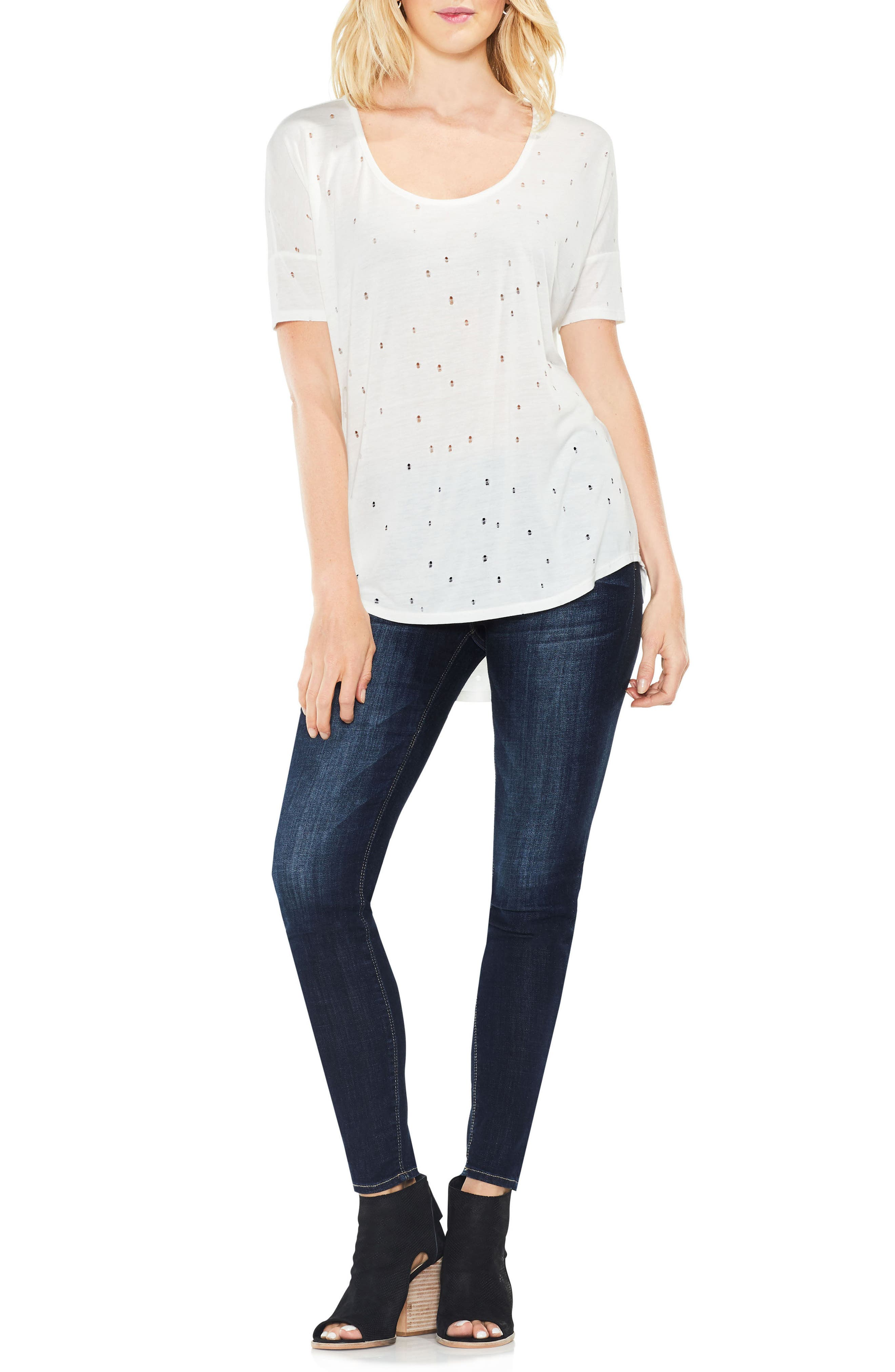 Distressed Jersey Top,                             Alternate thumbnail 3, color,                             Light Cream