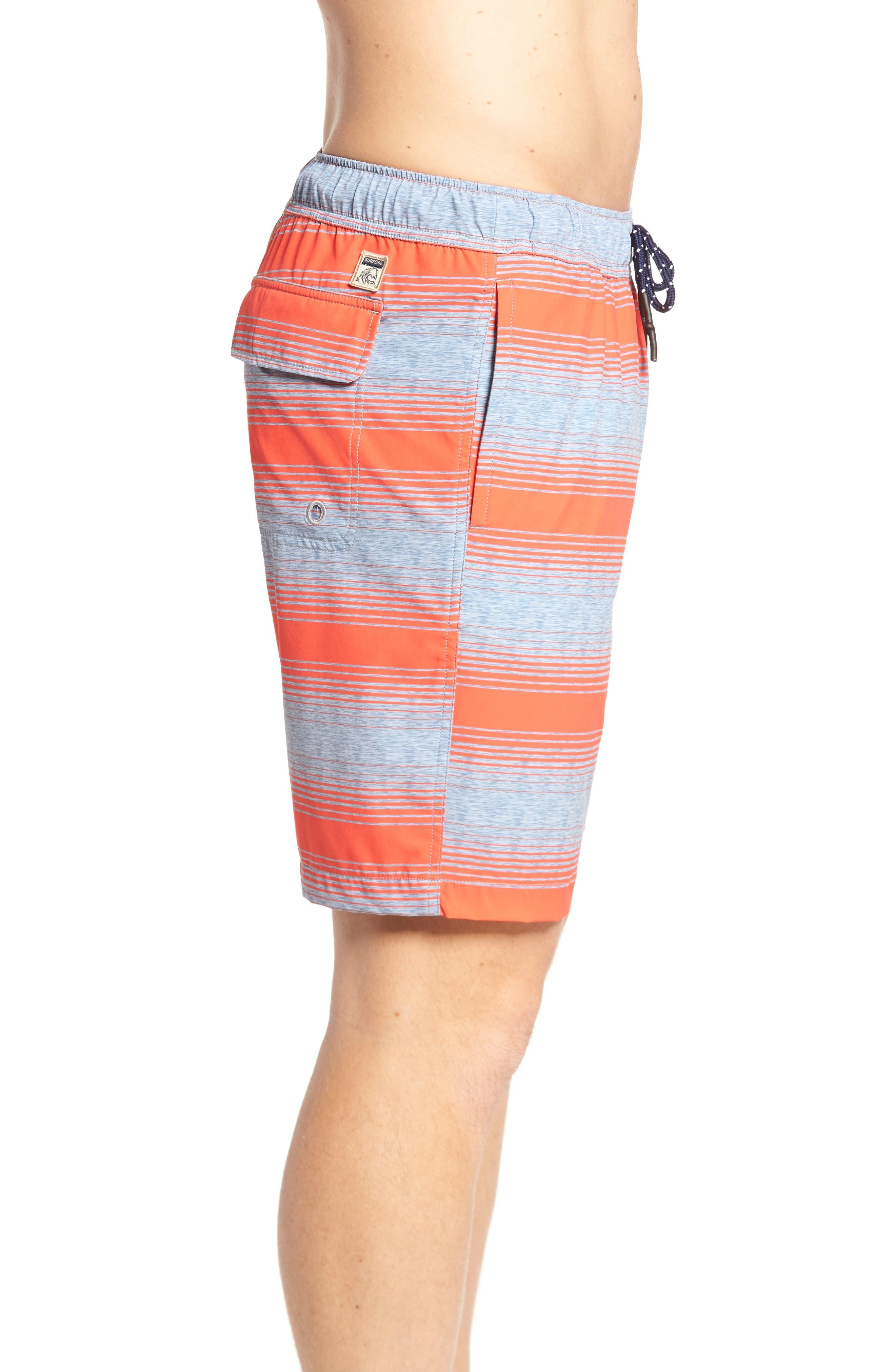 Stripe Swim Trunks,                             Alternate thumbnail 3, color,                             Hot Coral