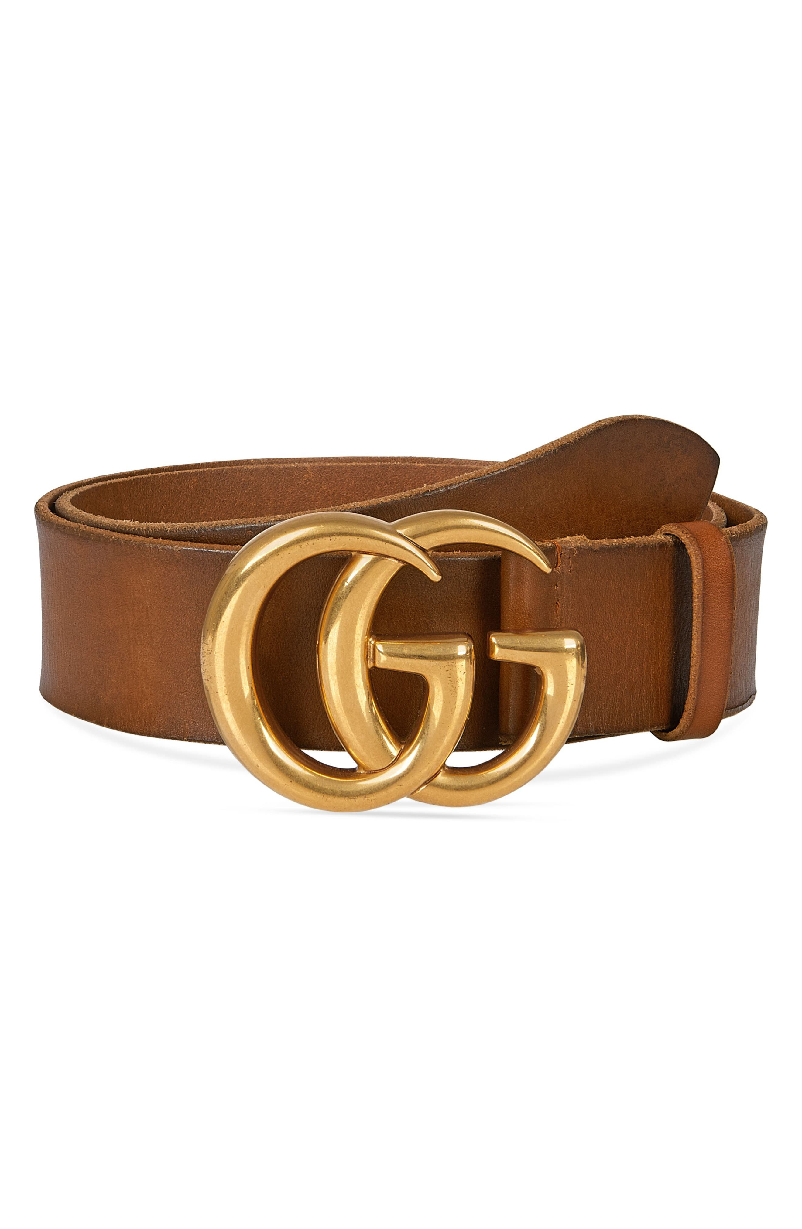 Distressed Leather Belt,                             Main thumbnail 1, color,                             Light Brown