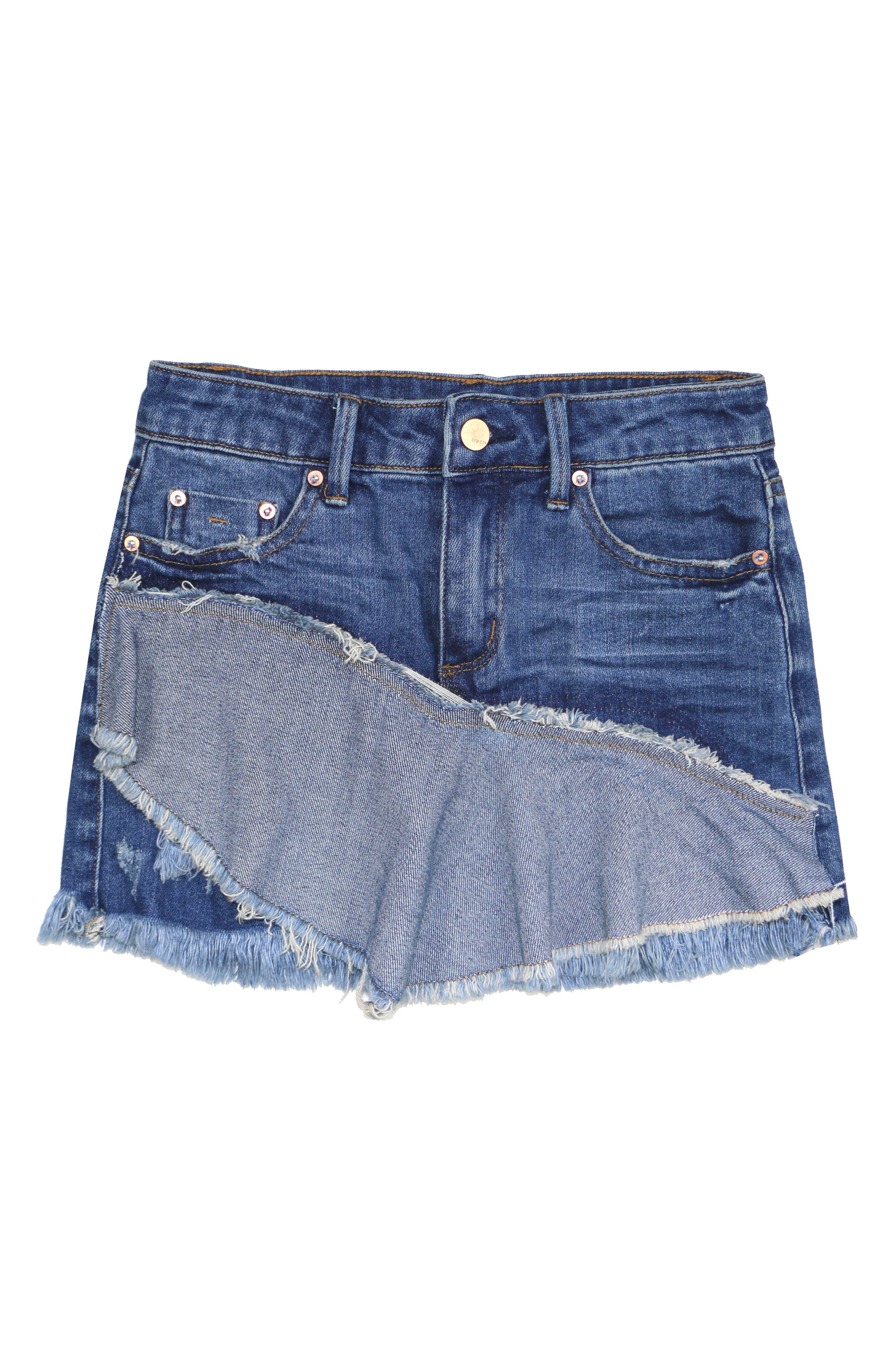 Tractr Distressed Pieced Denim Skirt (Big Girls)