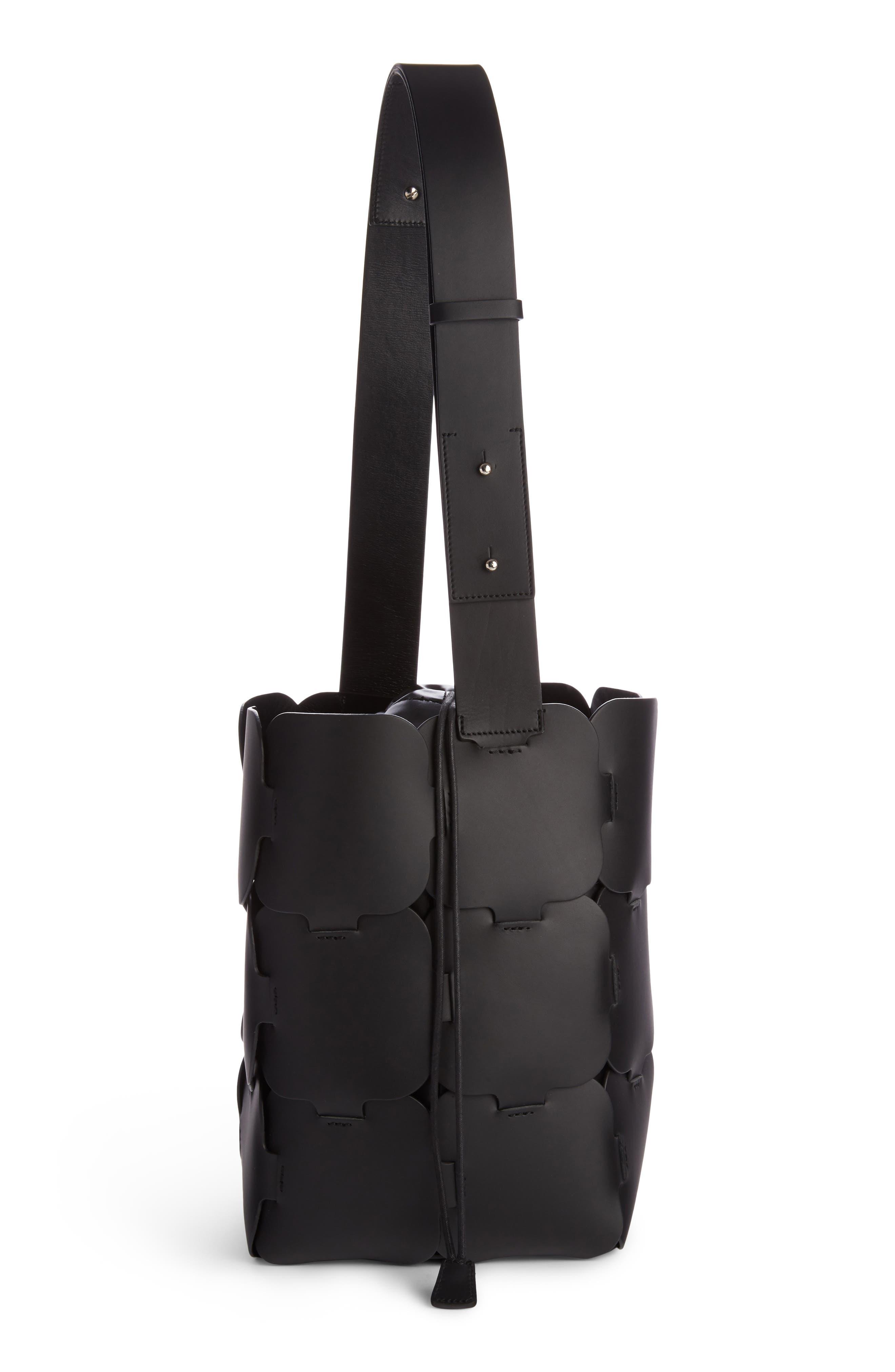 Medium Element Leather Bucket Bag,                             Alternate thumbnail 3, color,                             Black