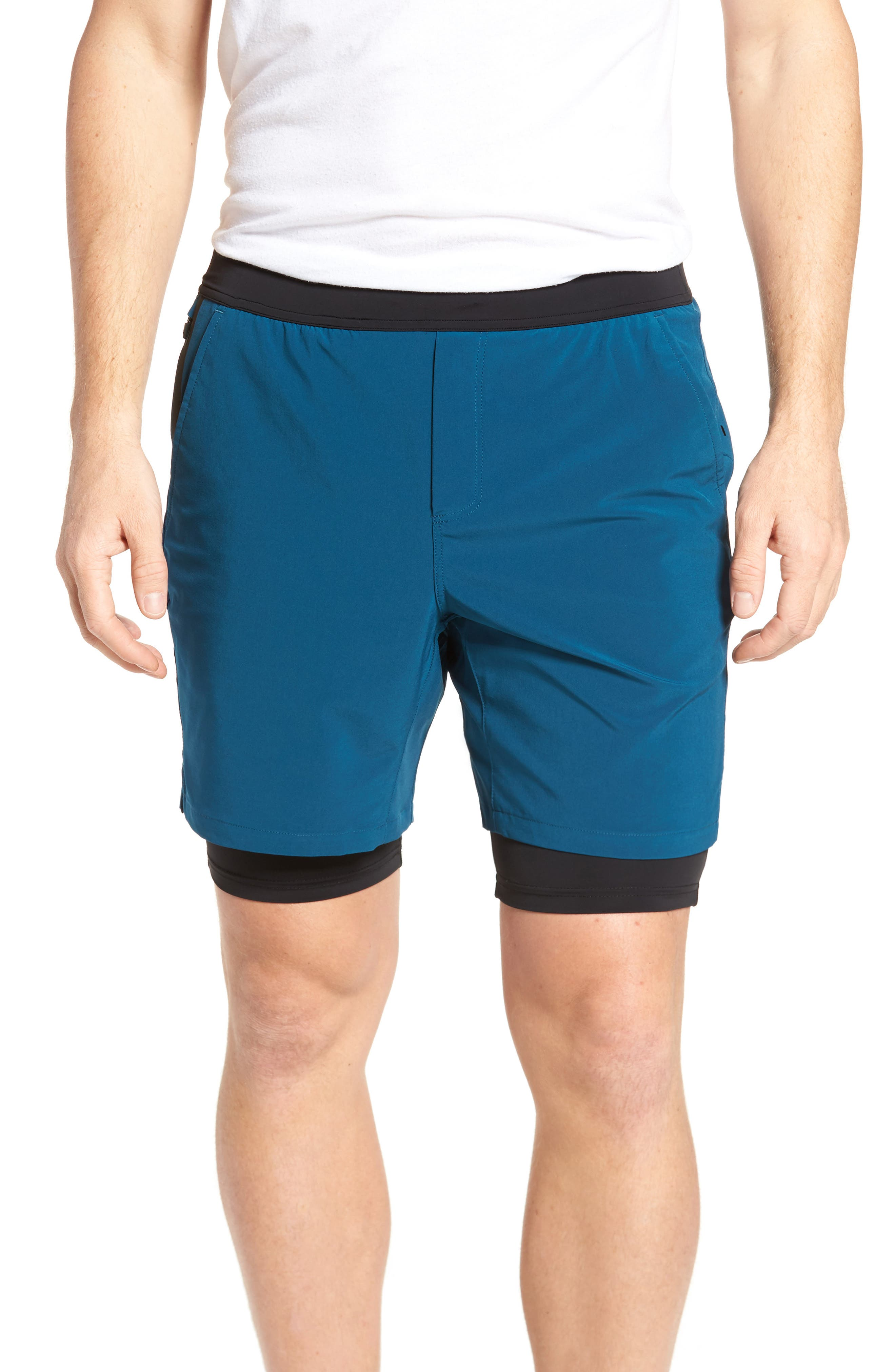 Interval Athletic Shorts,                         Main,                         color, Dark Teal