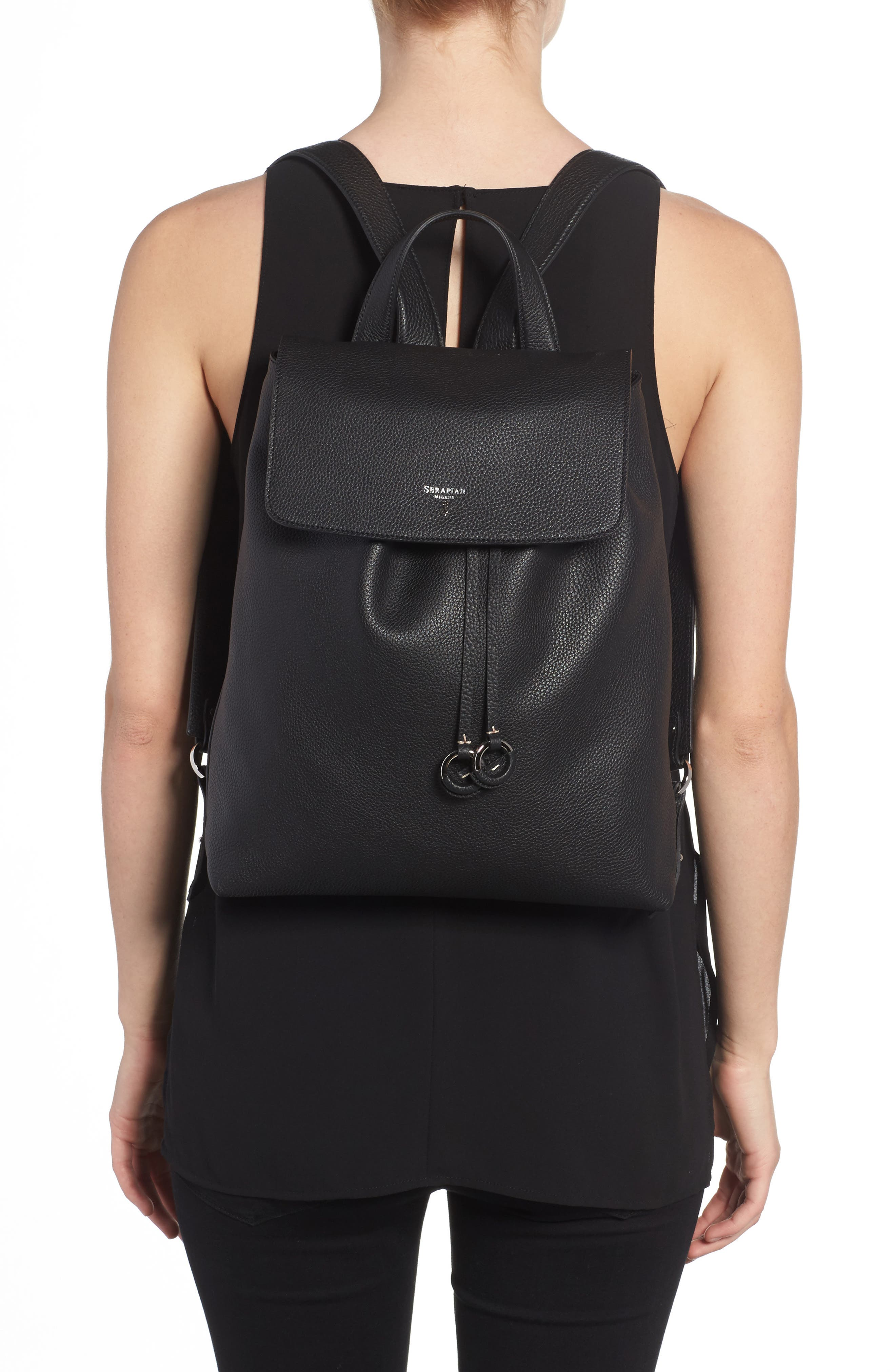 Carmen Cachemire Leather Backpack,                             Alternate thumbnail 2, color,                             Black