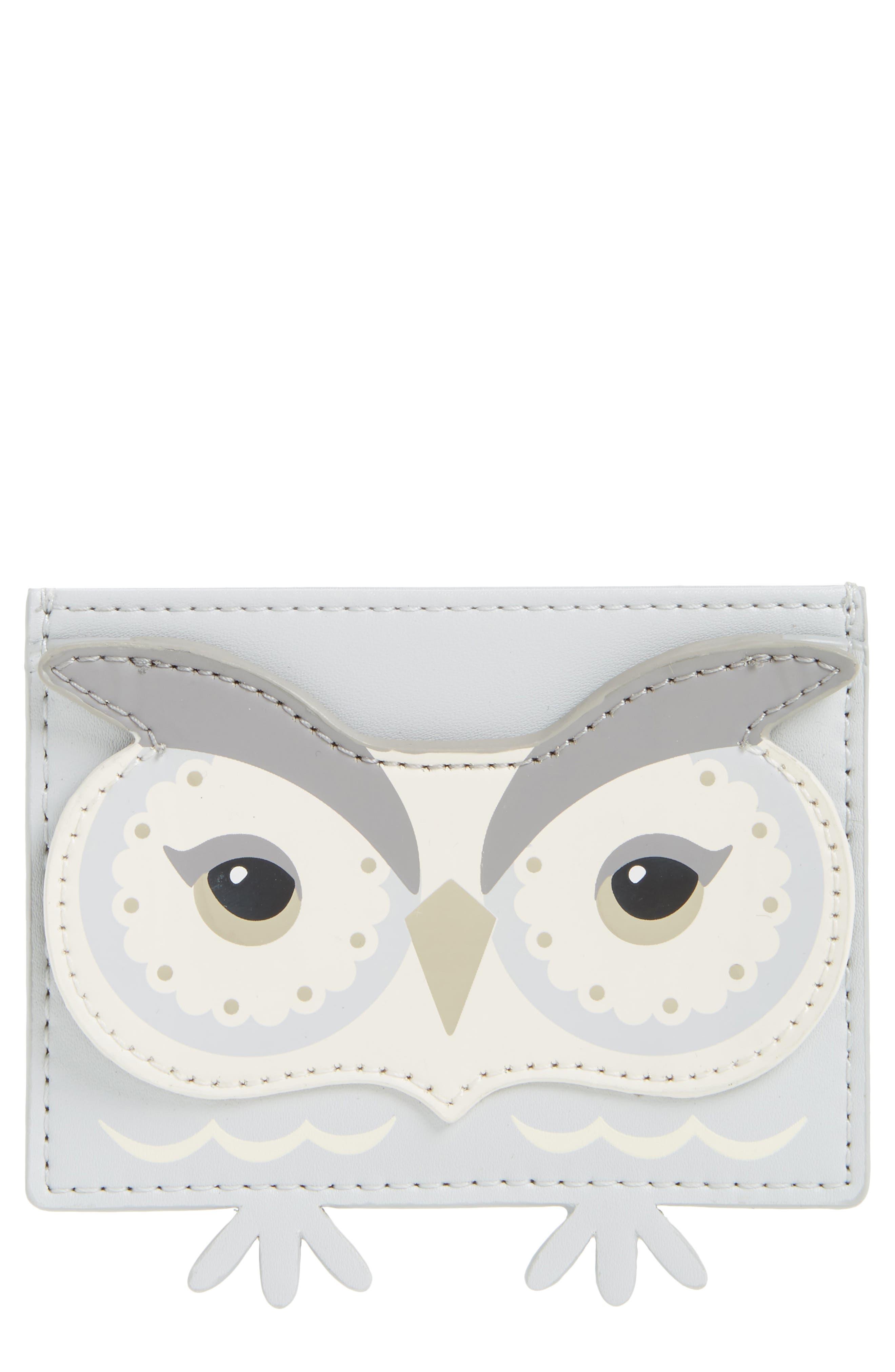 starbright owl leather card holder,                         Main,                         color, Multi