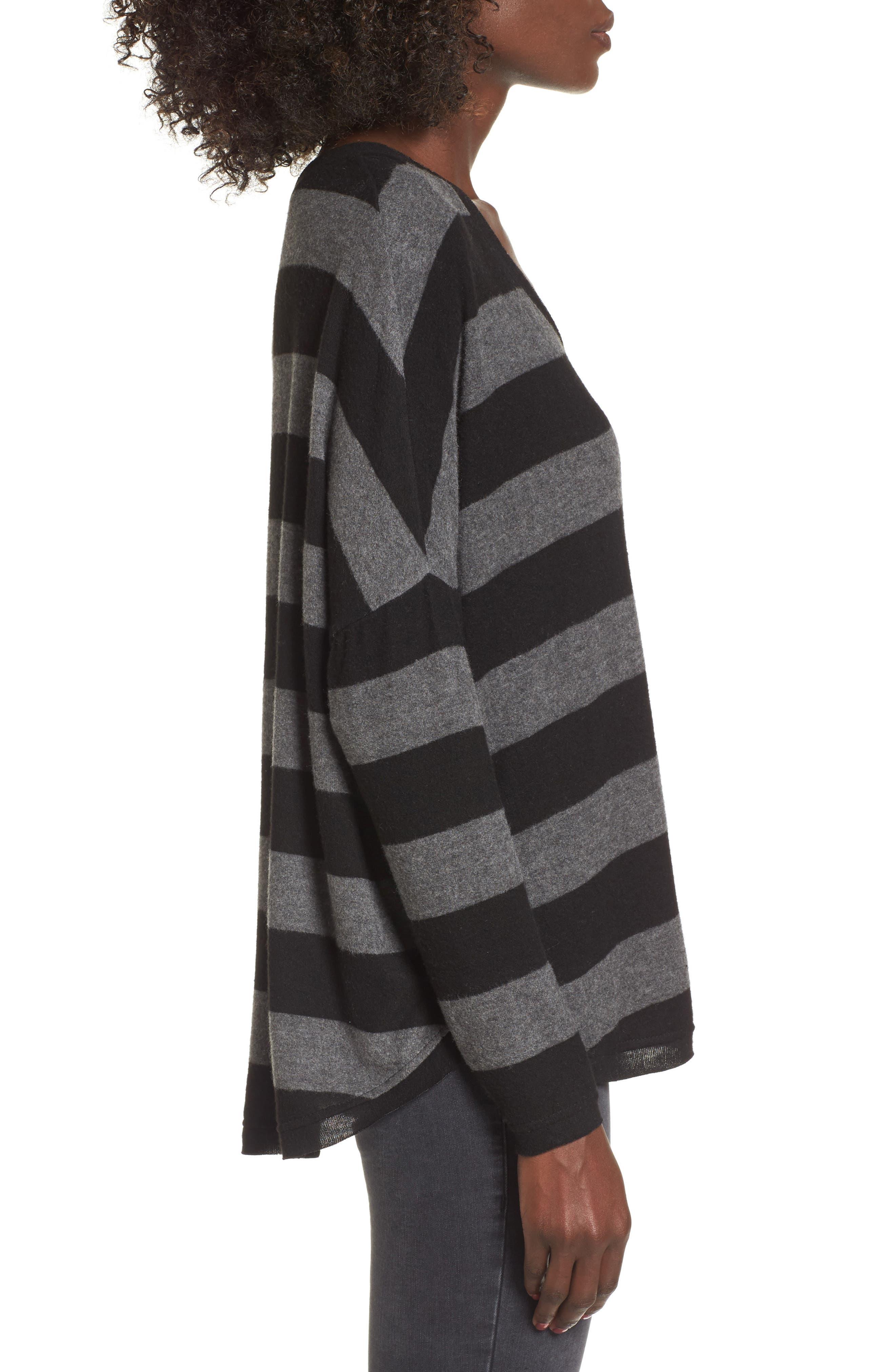 Stripe Cozy Tee,                             Alternate thumbnail 3, color,                             H. Charcoal/ Black