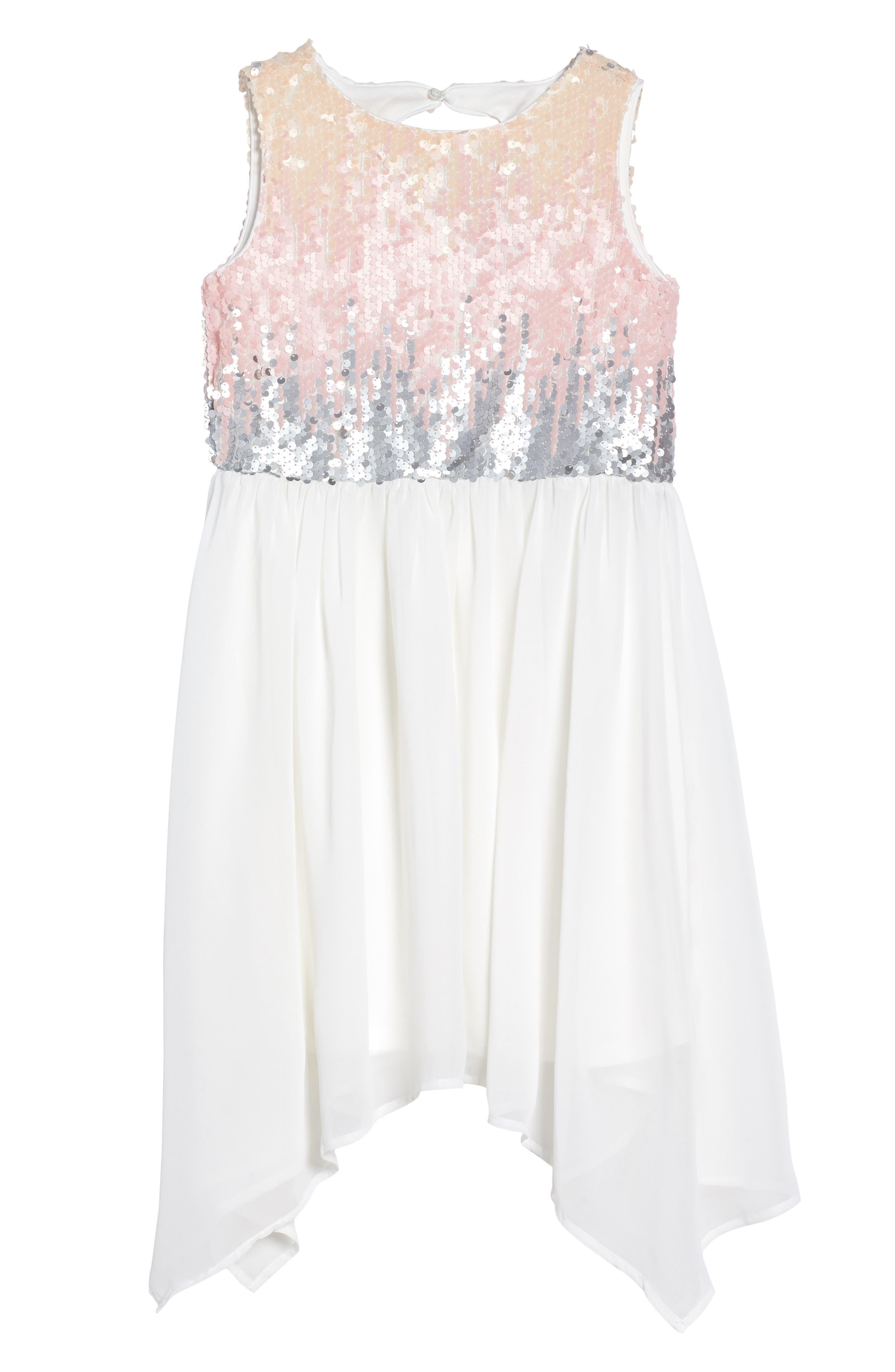 Sequin Bodice Dress,                             Main thumbnail 1, color,                             Ivory
