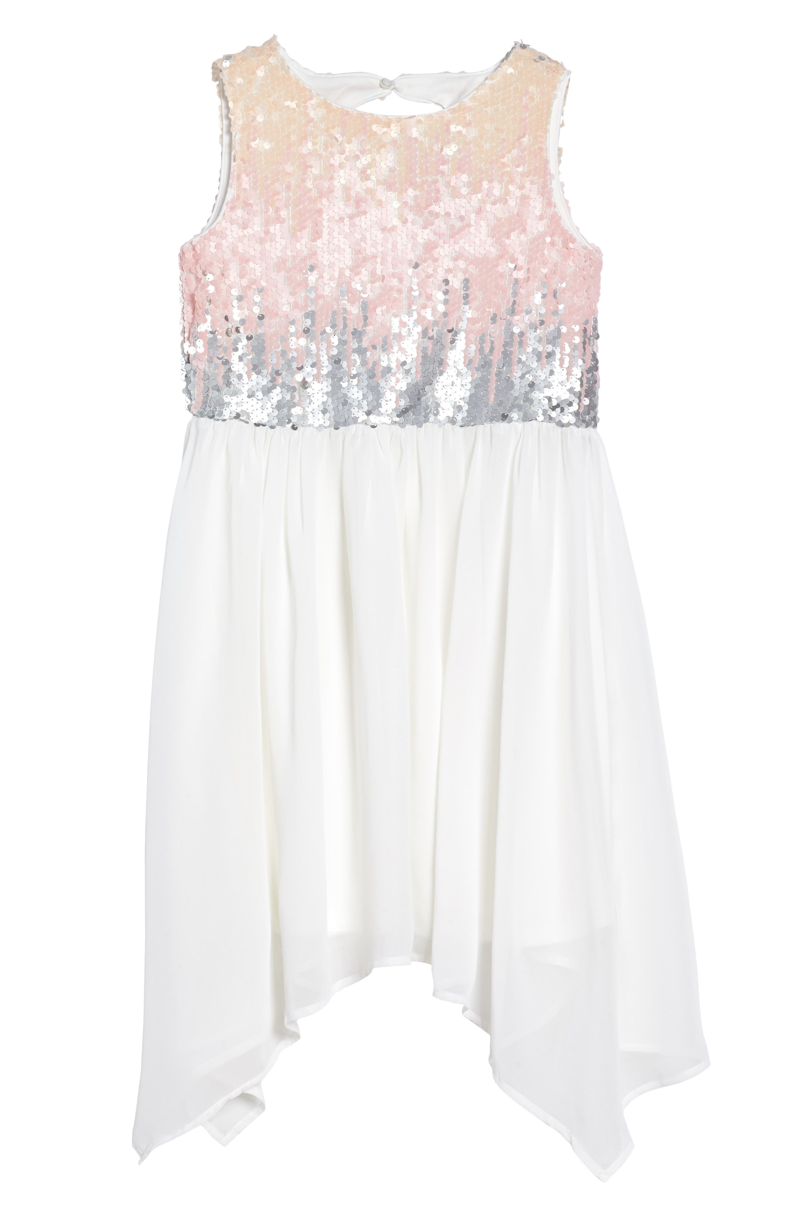 Sequin Bodice Dress,                         Main,                         color, Ivory
