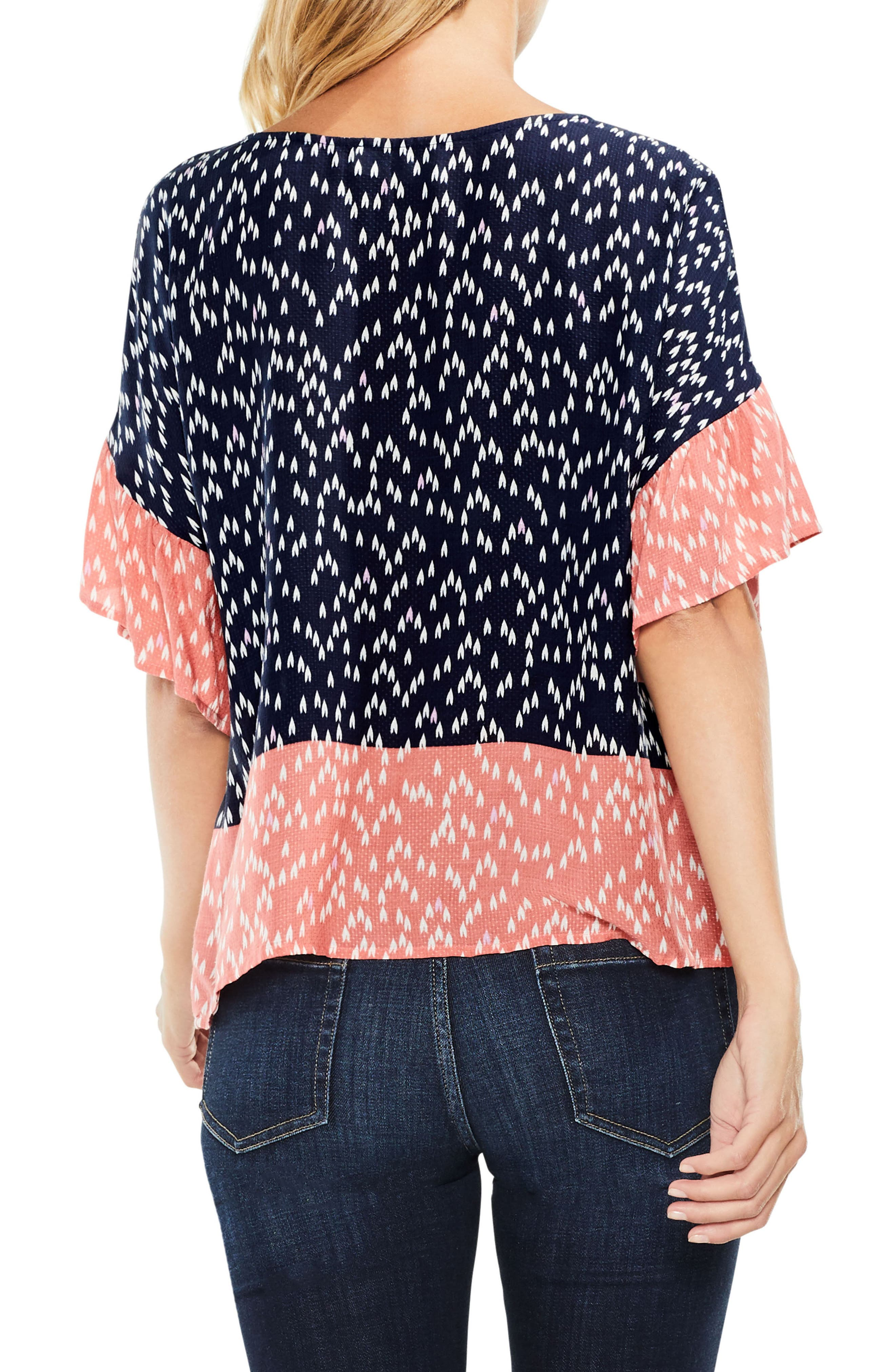 Two by Vince Camuto Ruffle Sleeve Shirt,                             Alternate thumbnail 2, color,                             Blue Night