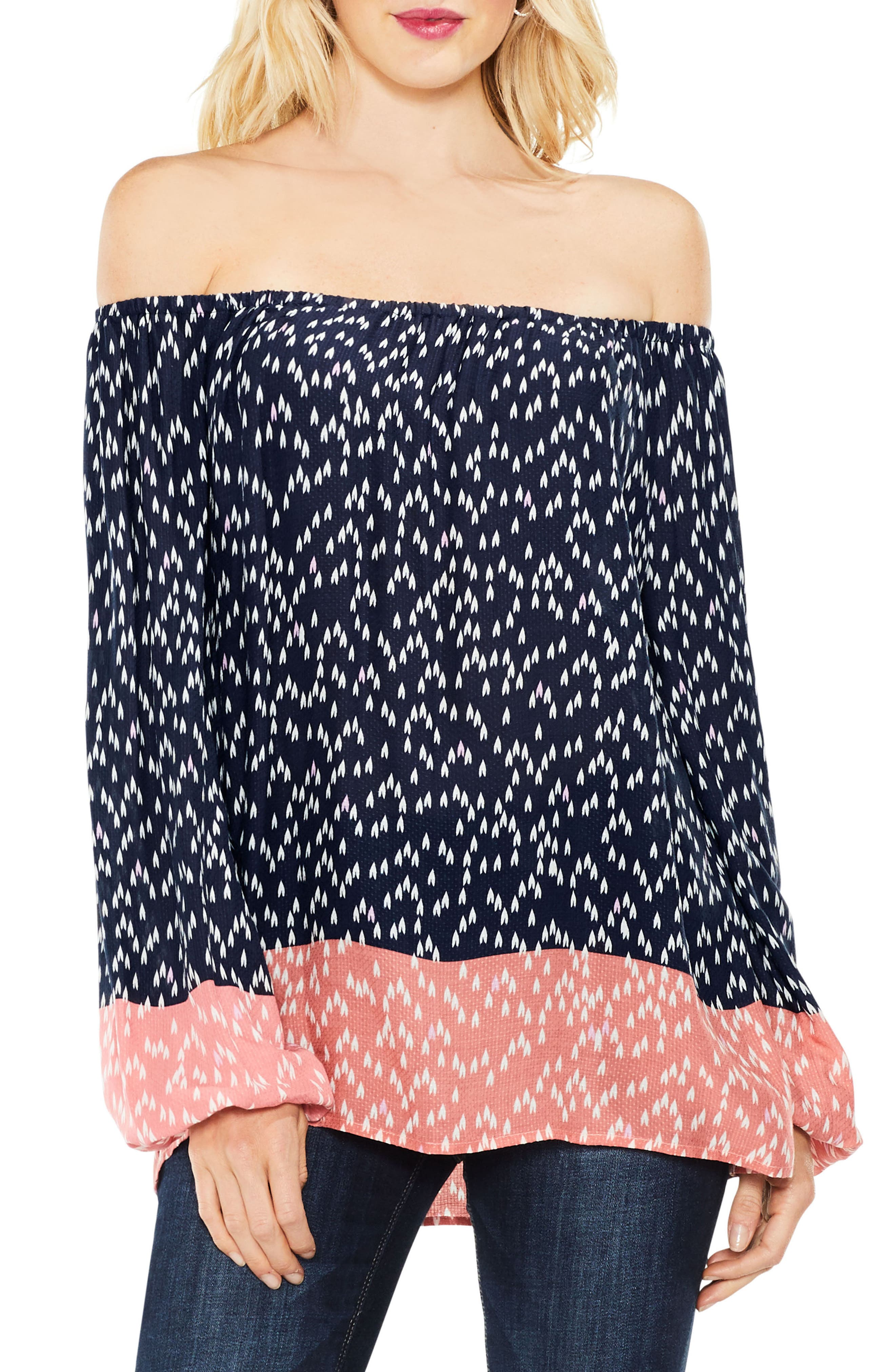 Two by Vince Camuto Off the Shoulder Scatter Arrow Blouse,                         Main,                         color, Blue Night