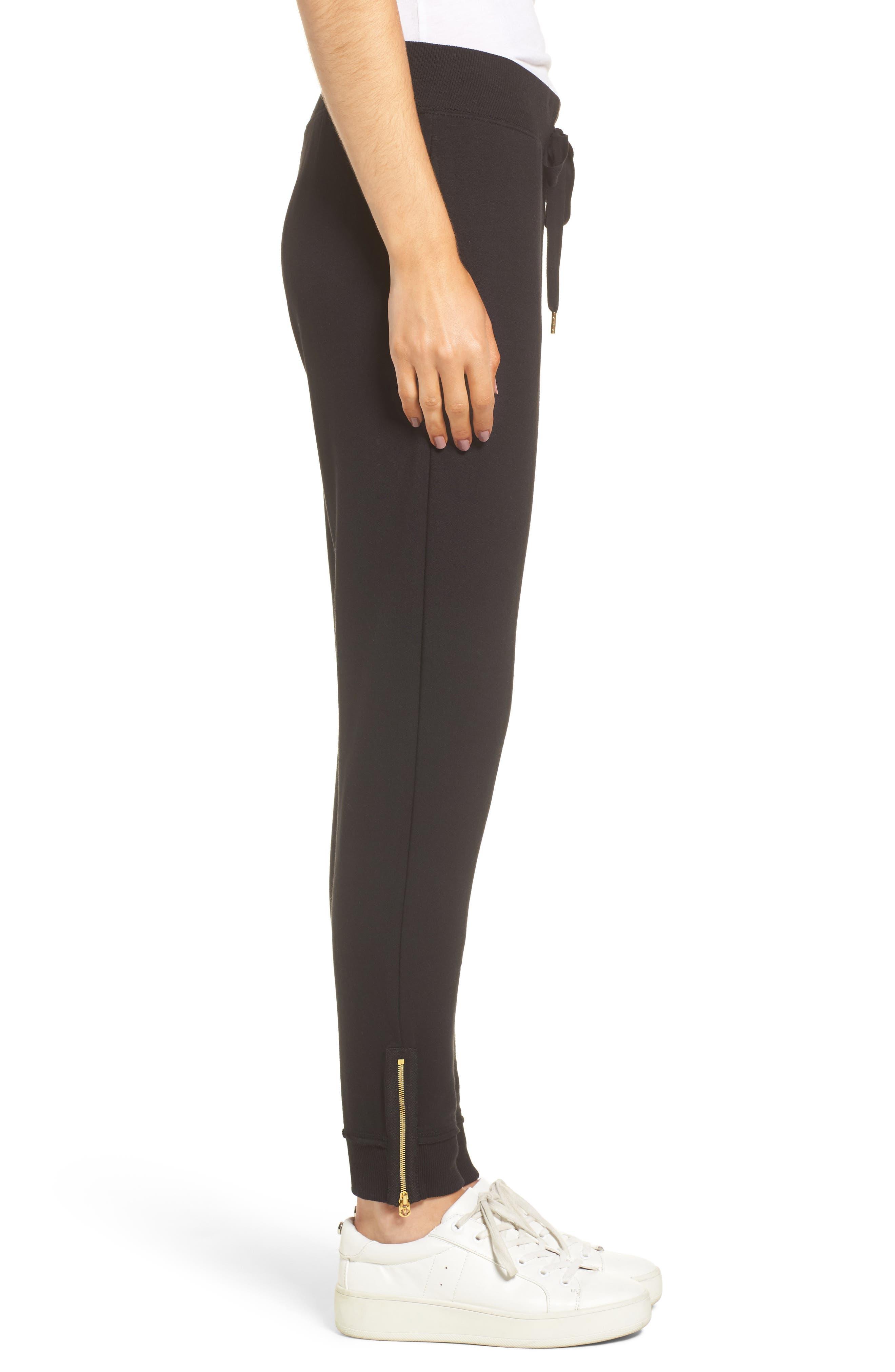 Zip Sweatpants,                             Alternate thumbnail 4, color,                             Black