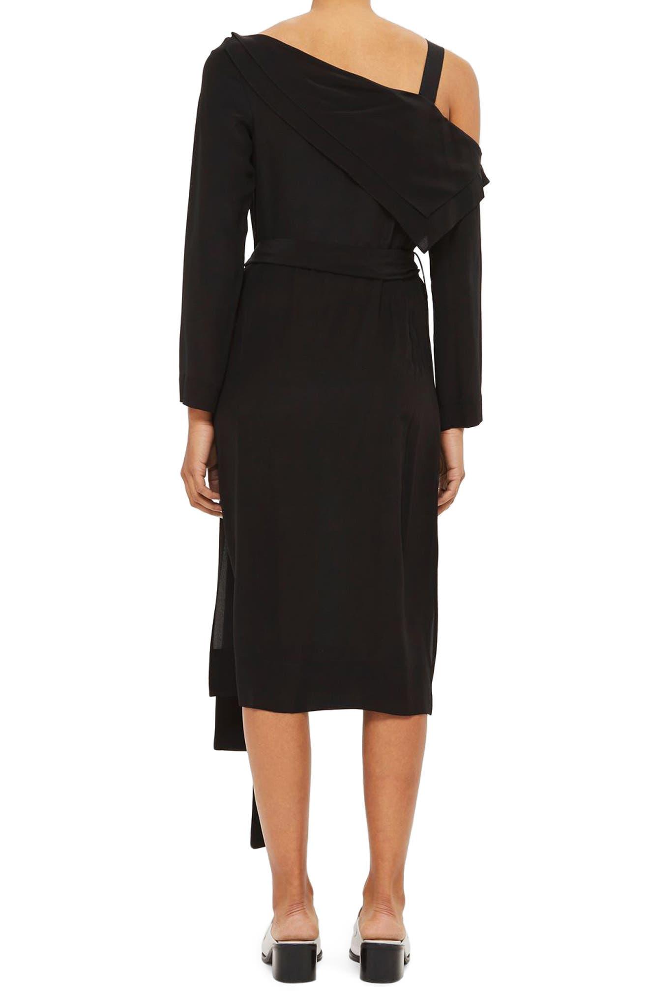Off the Shoulder Silk Drape Dress,                             Alternate thumbnail 2, color,                             Black