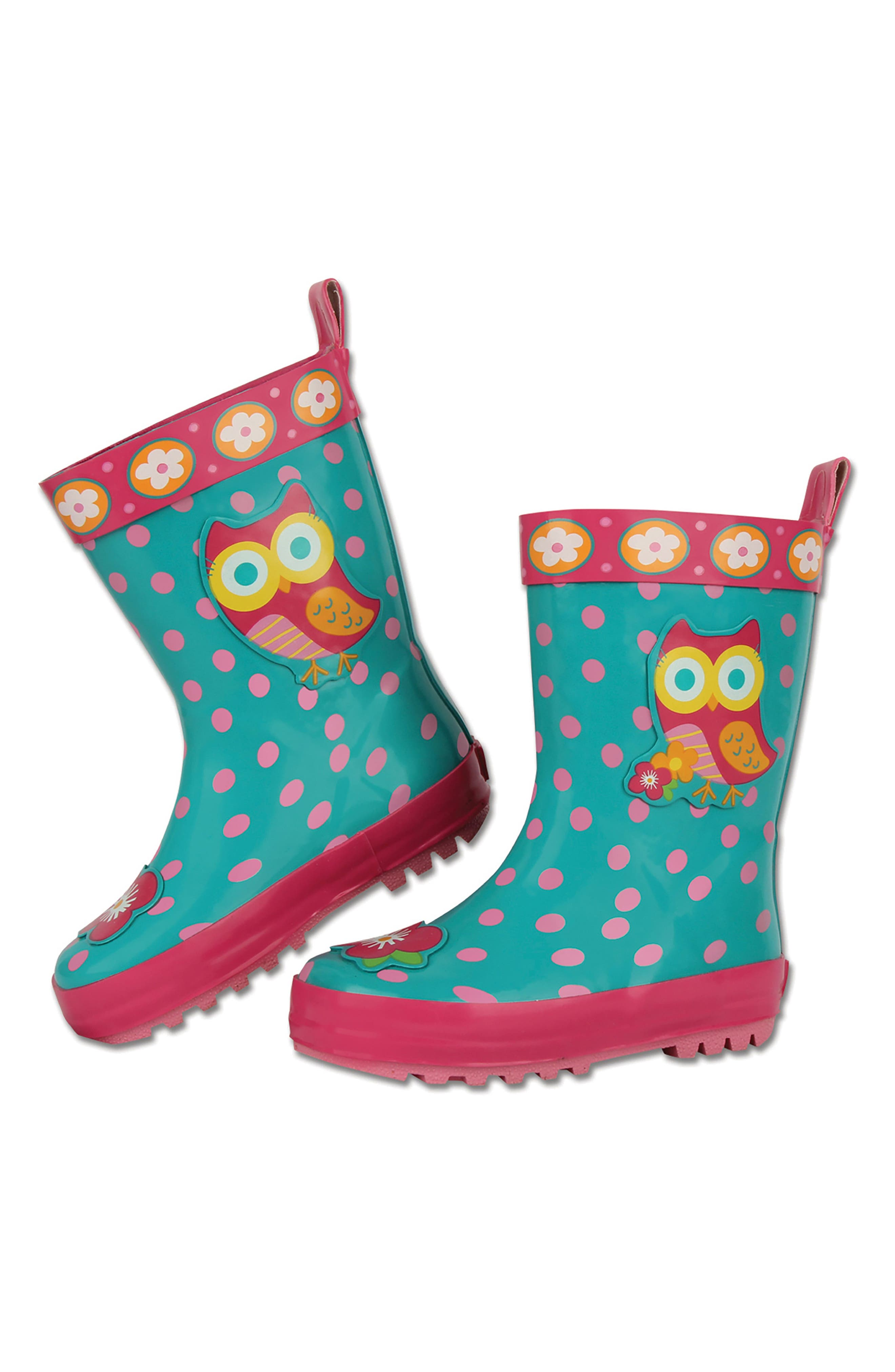 Alternate Image 2  - Stephen Joseph Owl Rain Boots & Umbrella Set (Little Girls & Big Girls)