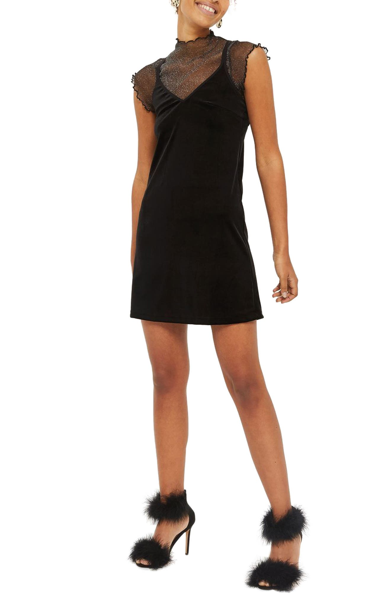 Velvet Slipdress,                         Main,                         color, Black
