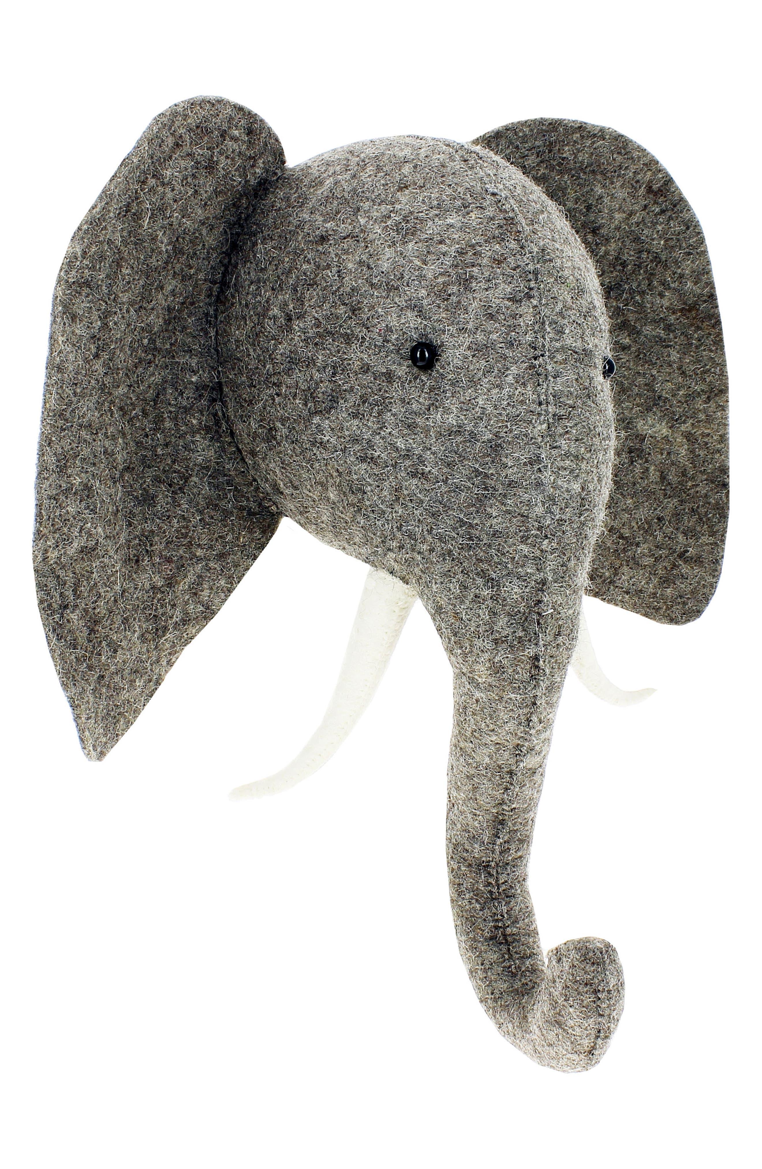 Elephant Head Wall Art,                             Alternate thumbnail 3, color,                             Grey