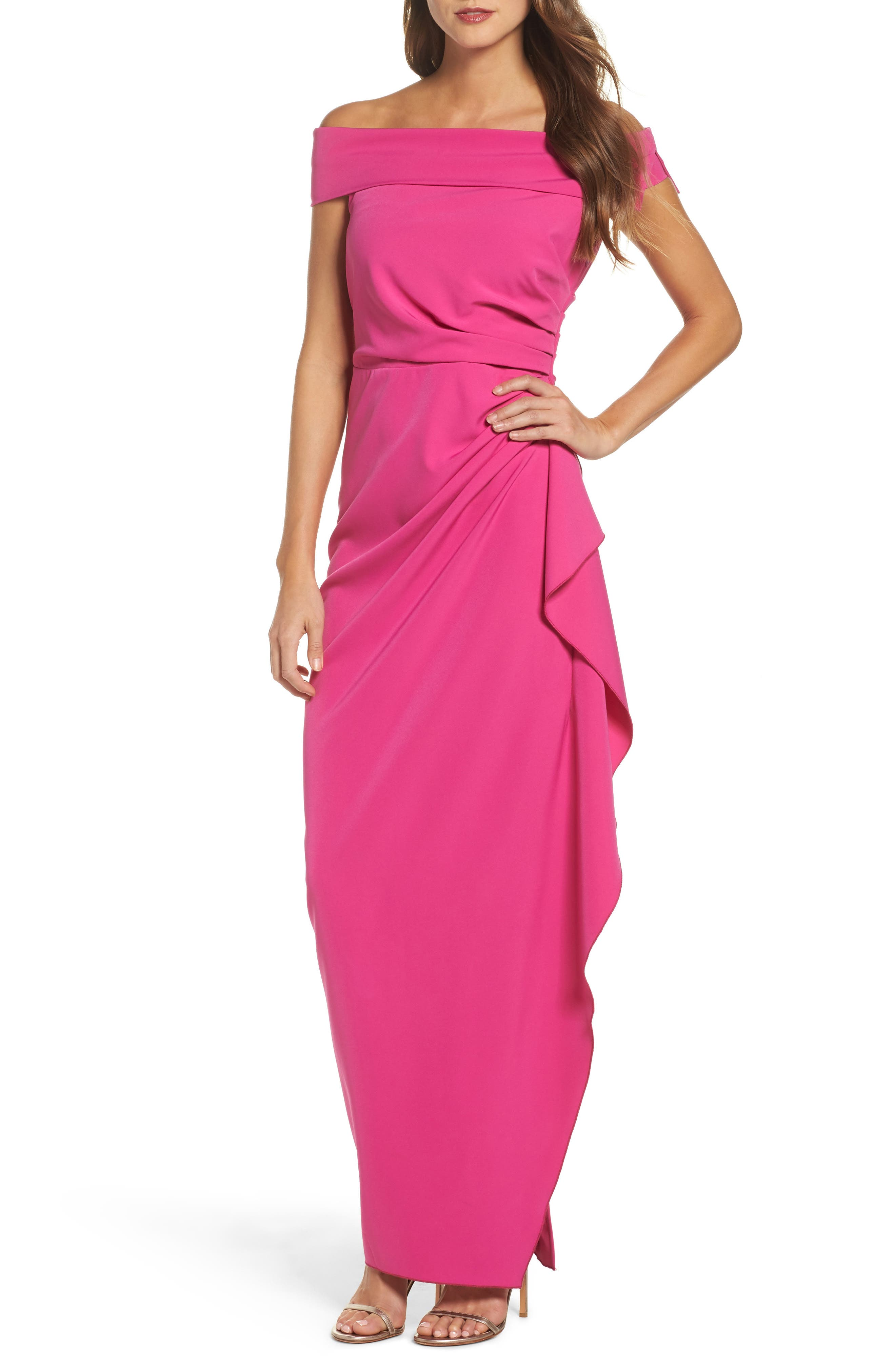 Off the Shoulder Crepe Gown,                             Main thumbnail 1, color,                             Fuchsia