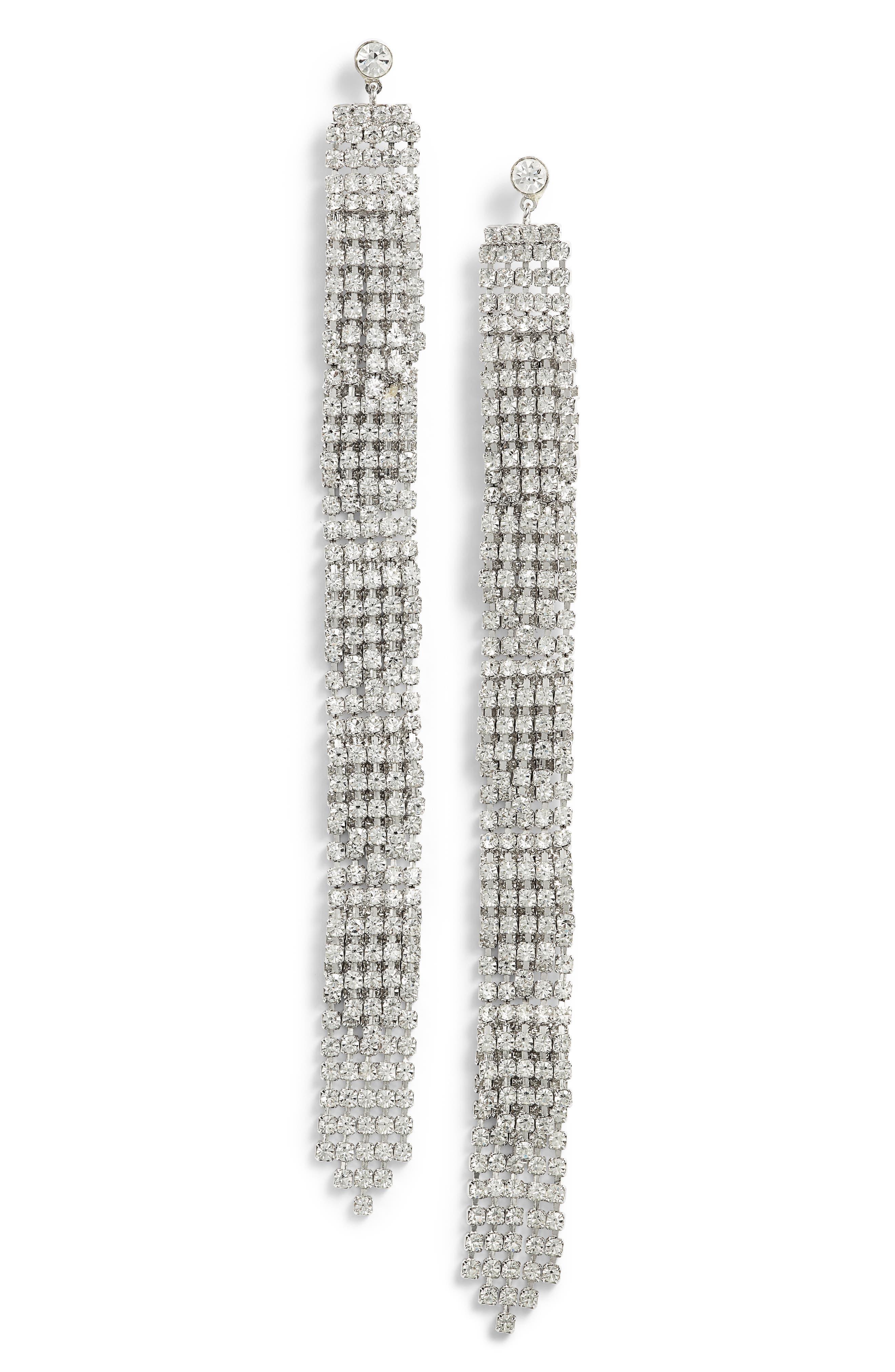 Crystal Fringe Shoulder Duster Earrings,                             Main thumbnail 1, color,                             Crystal