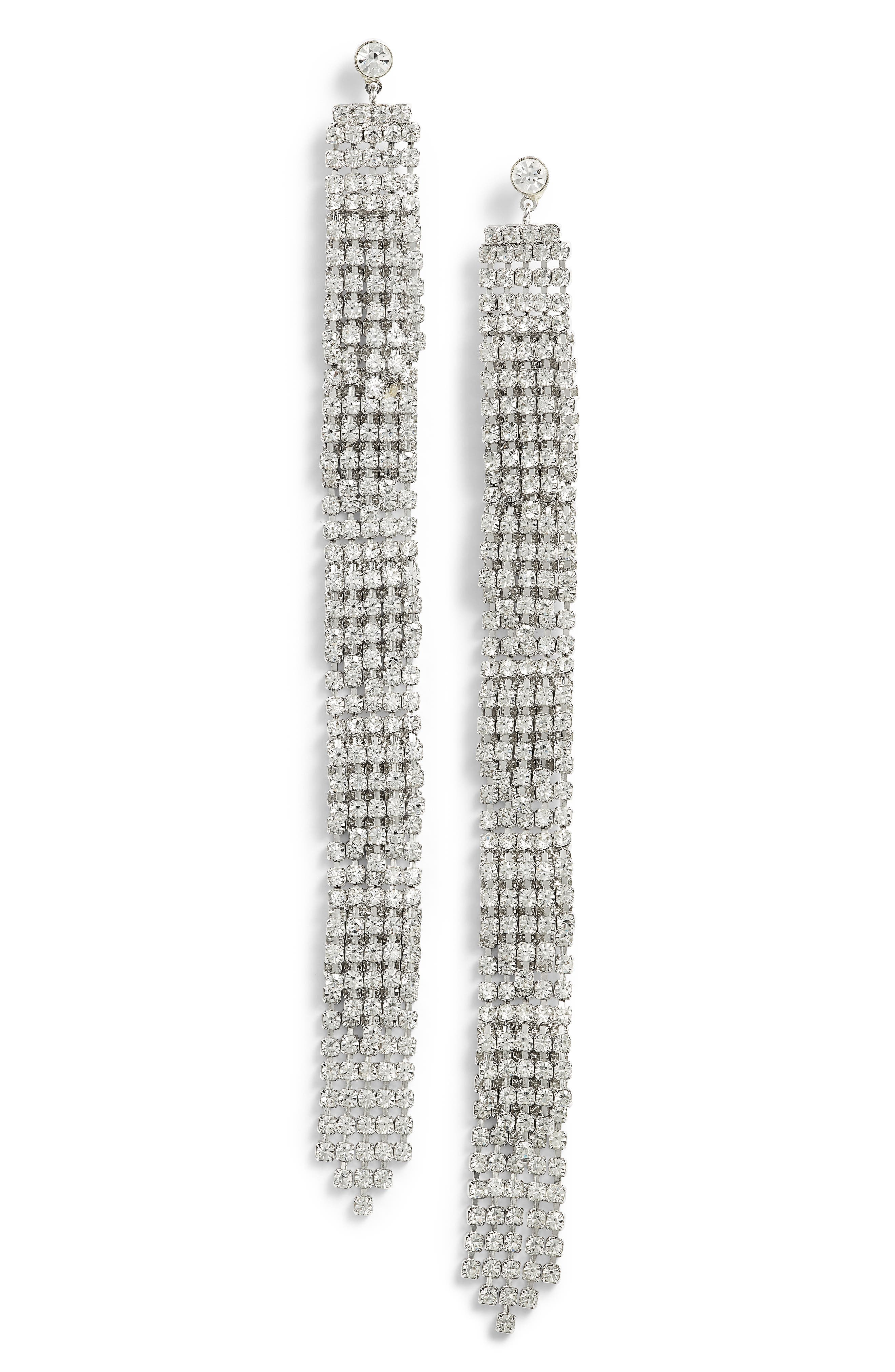 CRISTABELLE Crystal Fringe Shoulder Duster Earrings
