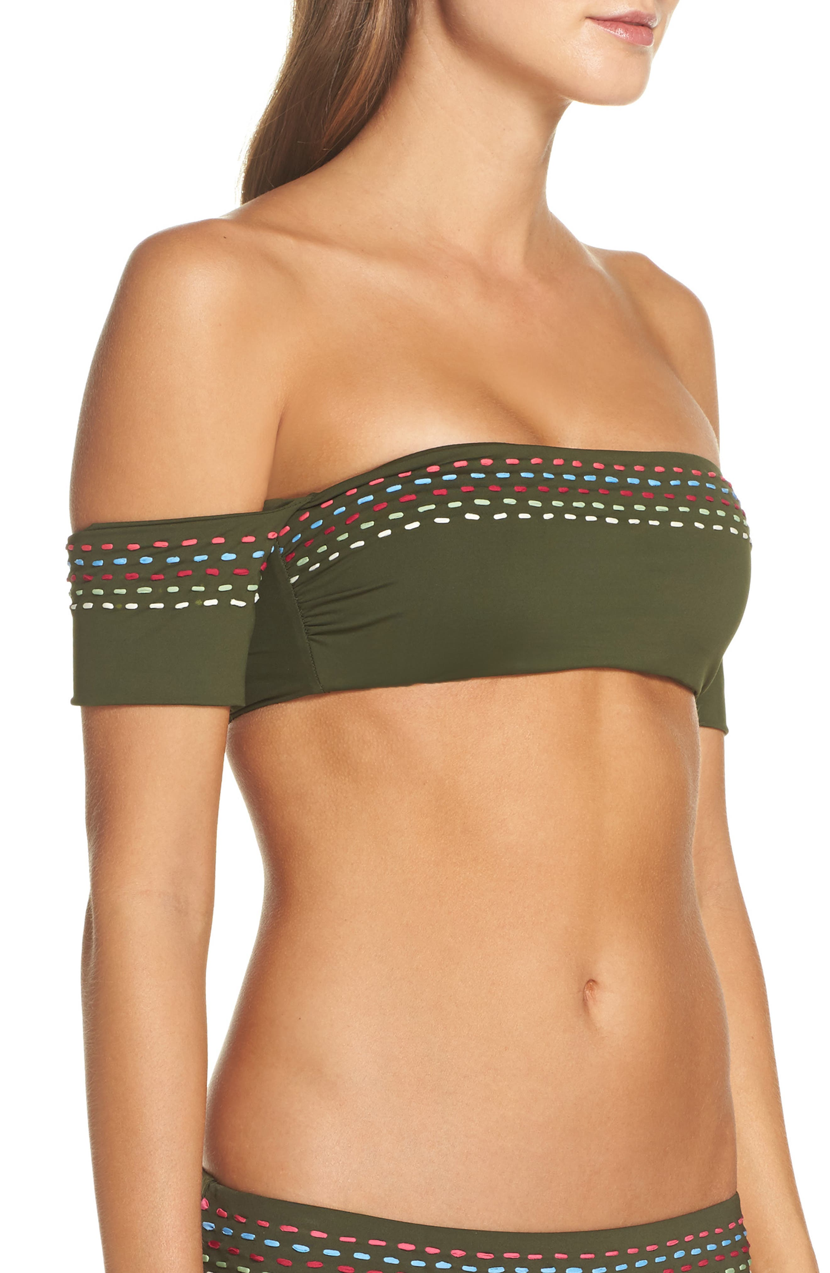 Quest Off the Shoulder Bikini Top,                             Alternate thumbnail 3, color,                             Bay Leaf