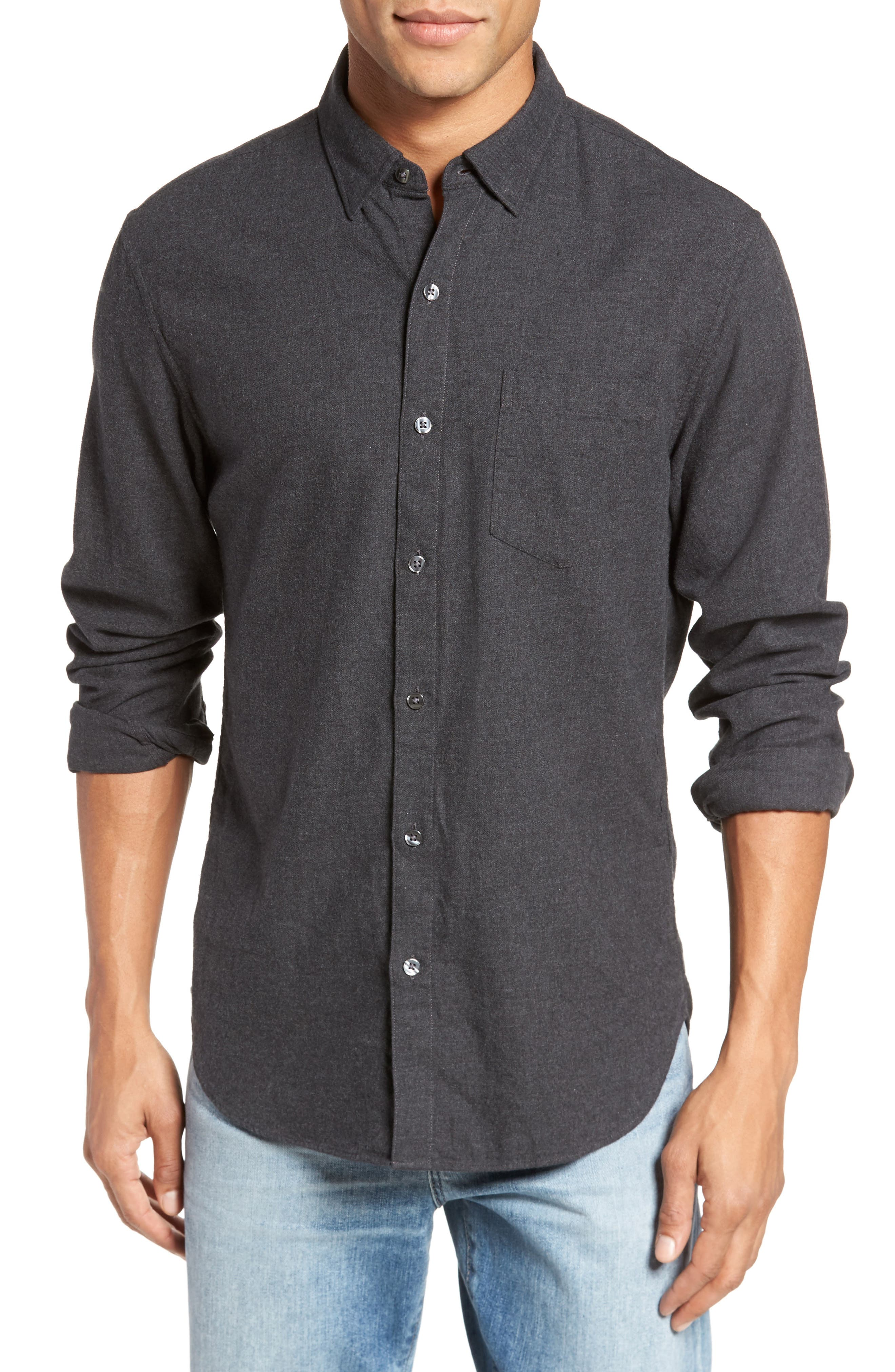 Slim Fit Brushed Twill Sport Shirt,                         Main,                         color, Heather Charcoal