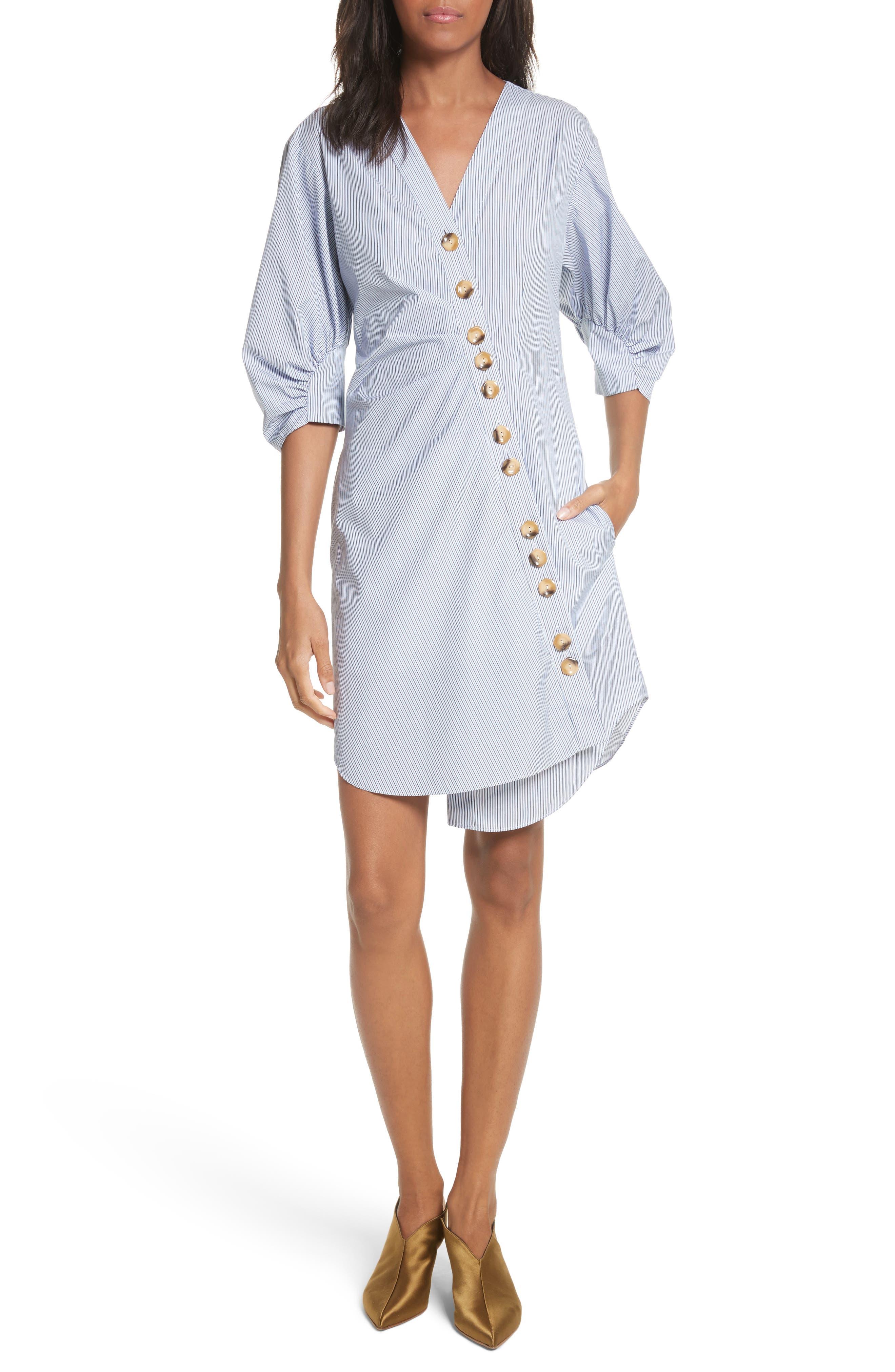 Asymmetrical Cotton Shirtdress,                             Main thumbnail 1, color,                             Blue Multi