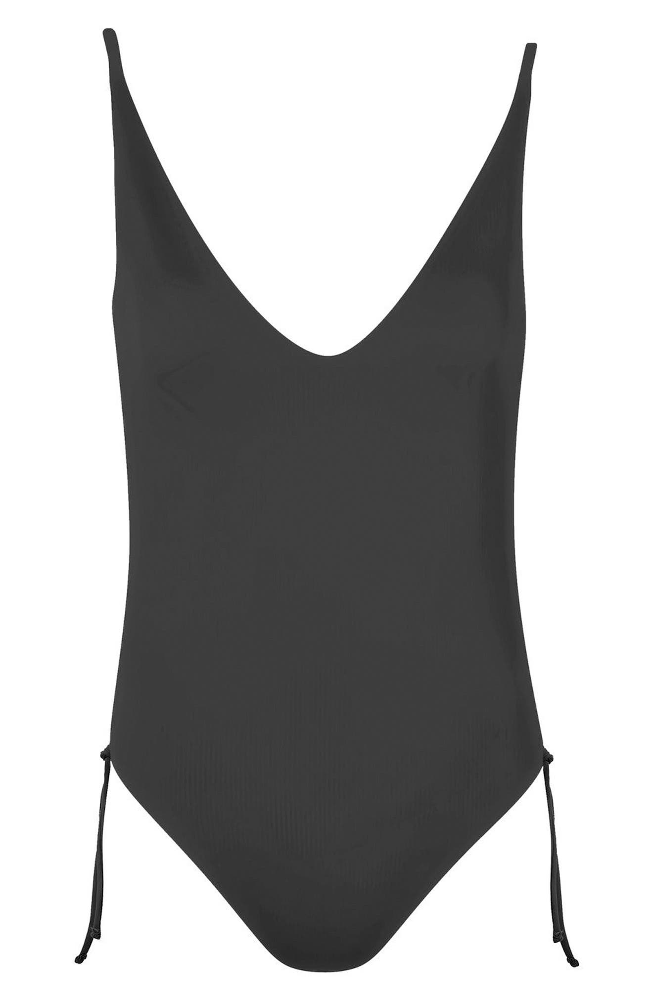 Side Ruched One-Piece Swimsuit,                             Alternate thumbnail 3, color,                             Black