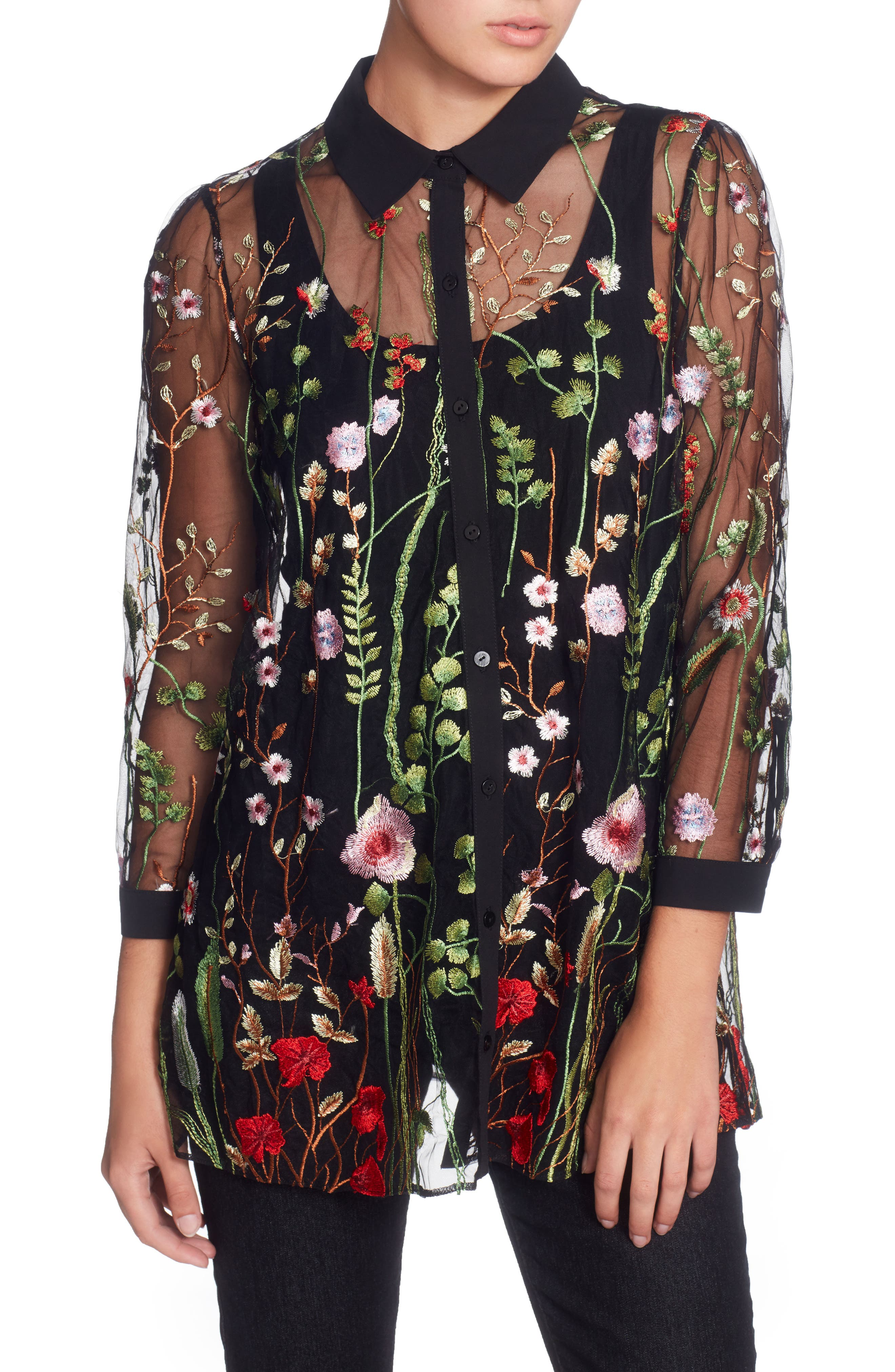 Franzisca Embroidered Blouse,                         Main,                         color, Black