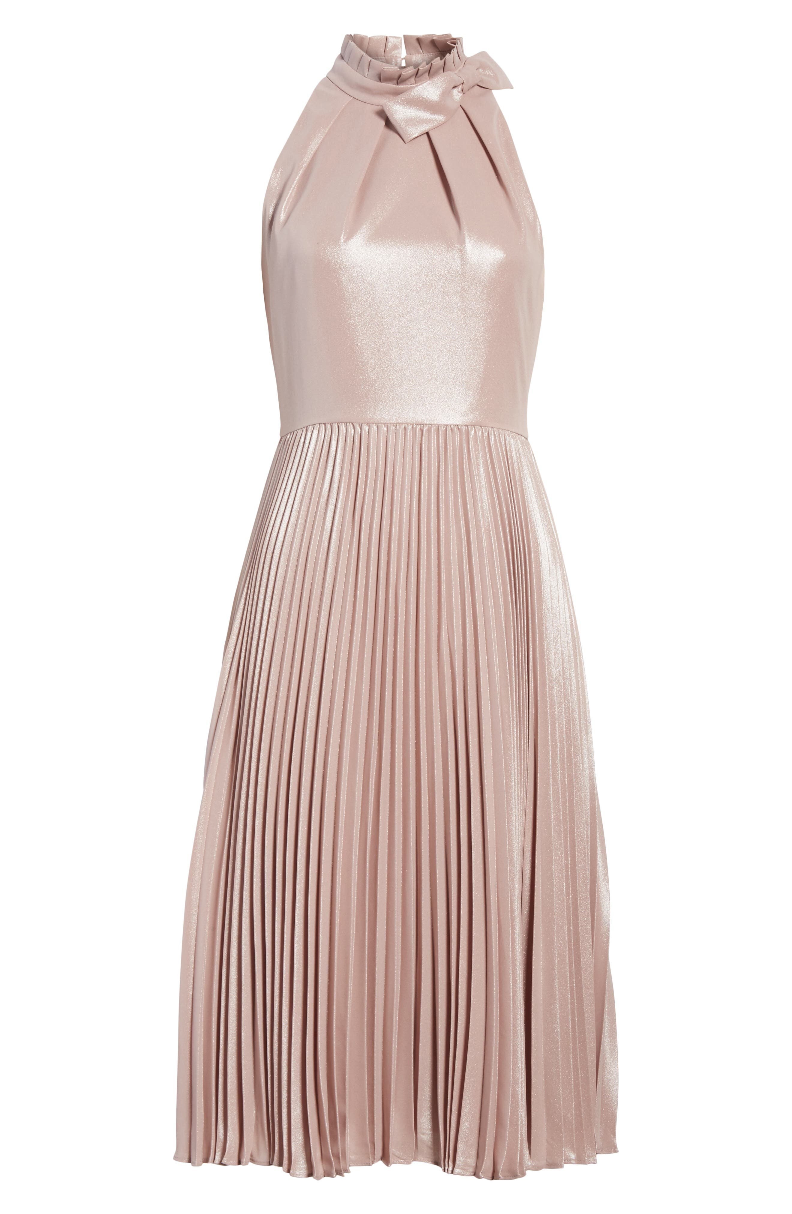 Bow Neck Fit & Flare Dress,                             Alternate thumbnail 6, color,                             Rose Gold