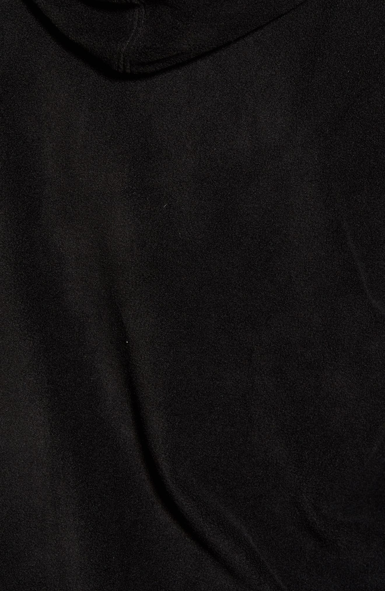 Slider Zip Through Fleece Hoodie,                             Alternate thumbnail 5, color,                             Black