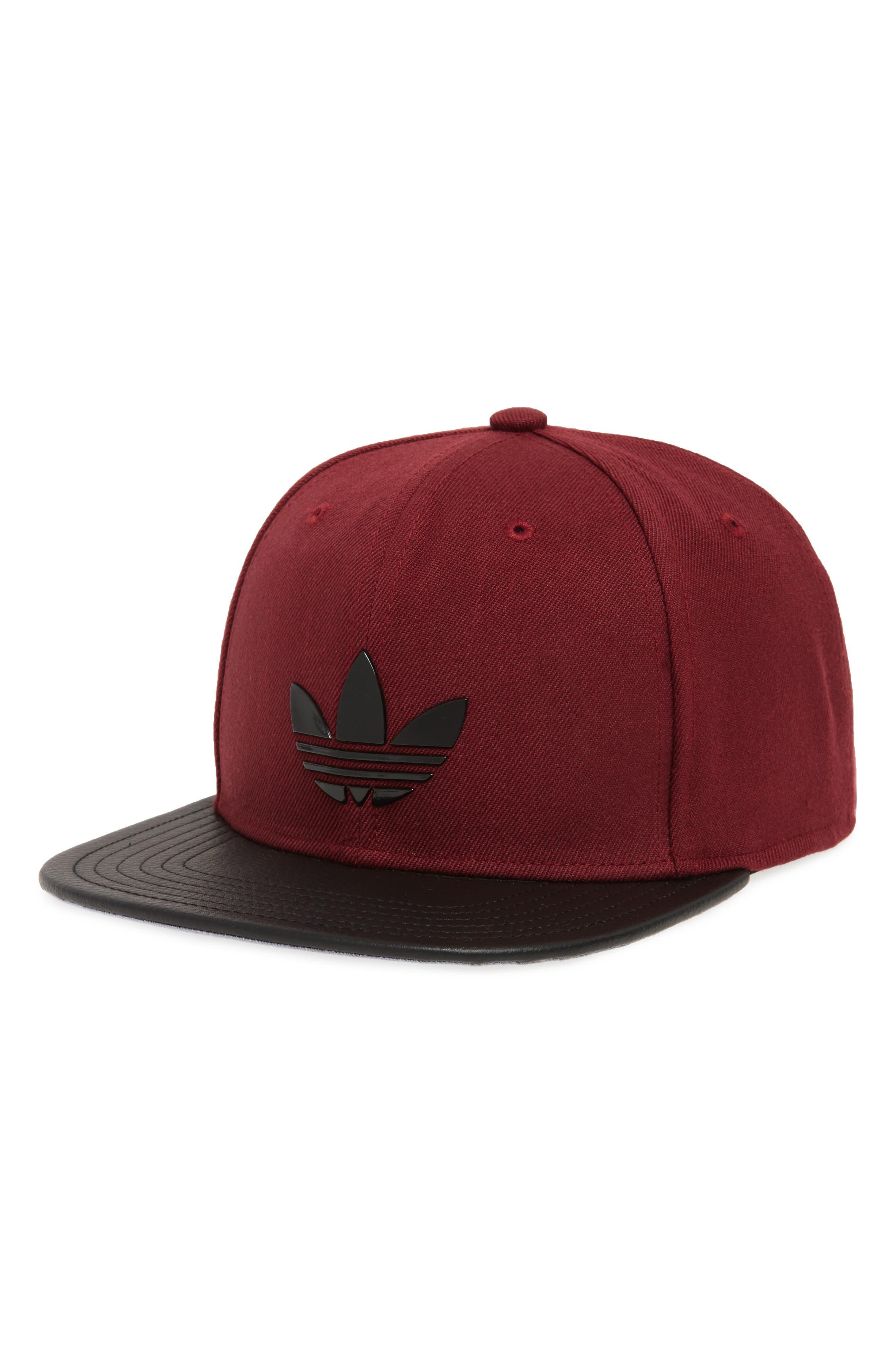 Ori Trefoil Plus Snapback Baseball Cap,                             Main thumbnail 1, color,                             Maroon/ Black Pu