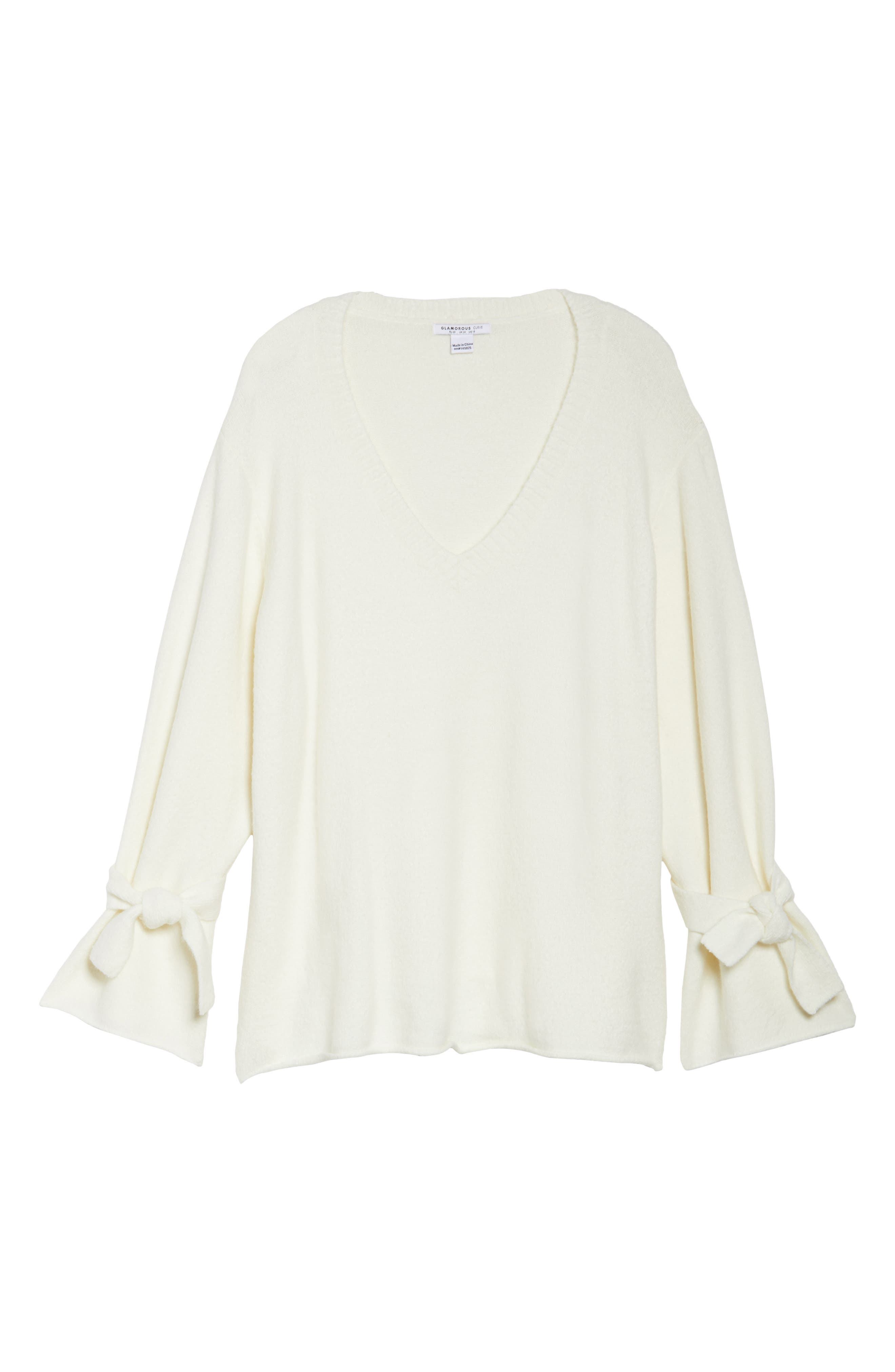 Tie Sleeve Sweater,                         Main,                         color, White