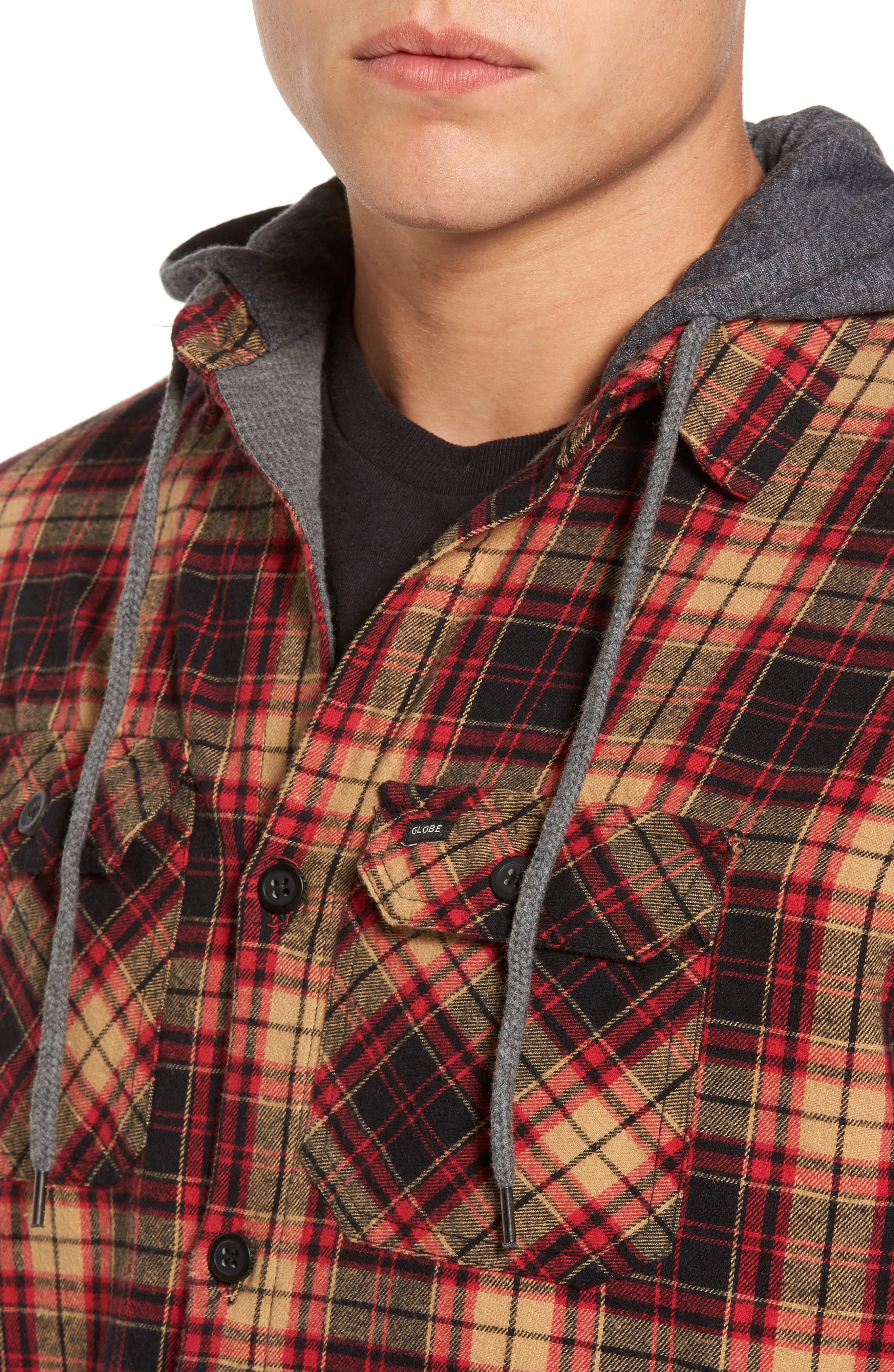 'Alford' Trim Fit Long Sleeve Plaid Hooded Shirt,                             Alternate thumbnail 4, color,                             Tobacco