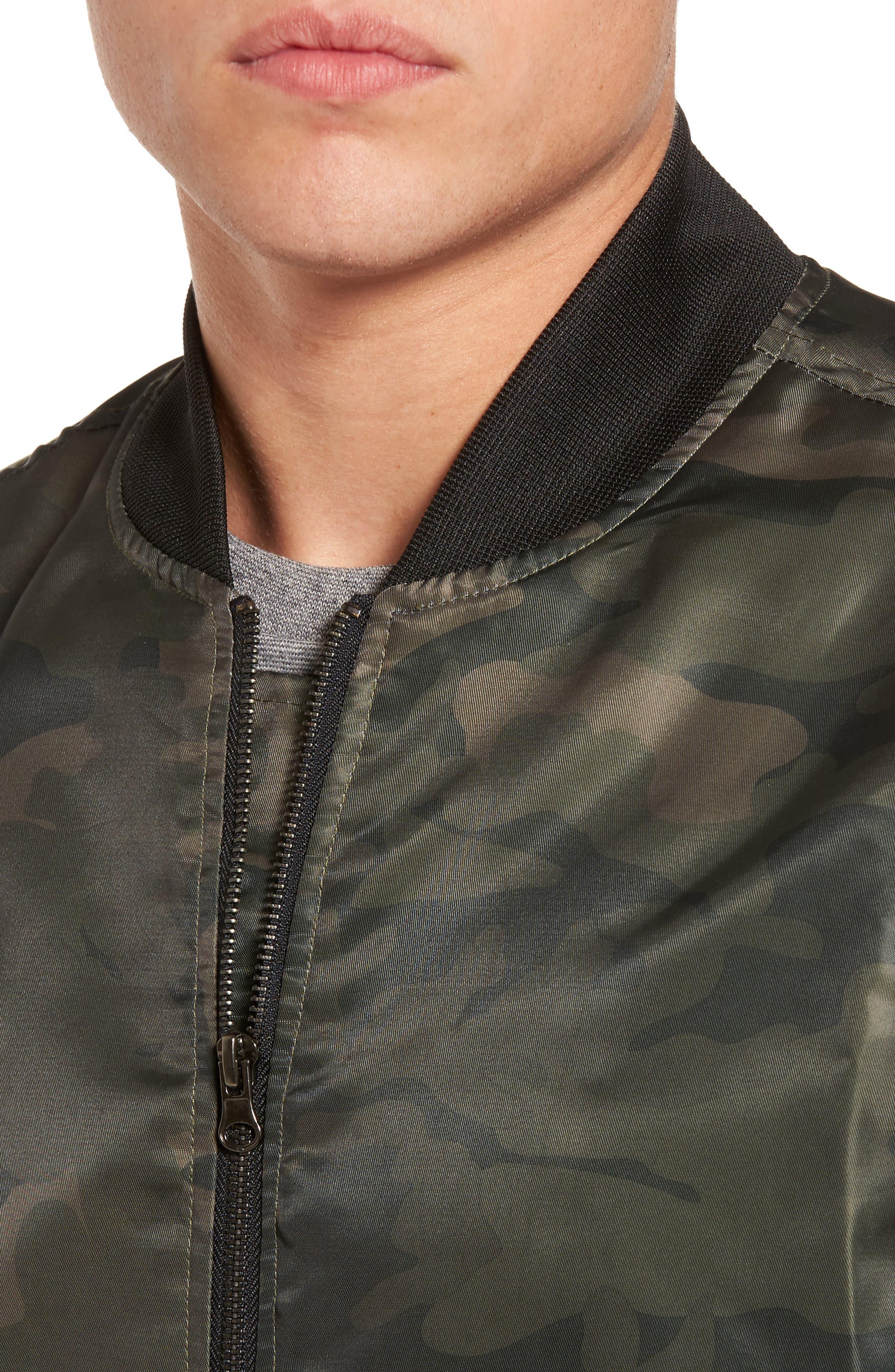 Nylon Bomber Jacket,                             Alternate thumbnail 4, color,                             Olive Dark Camouflage