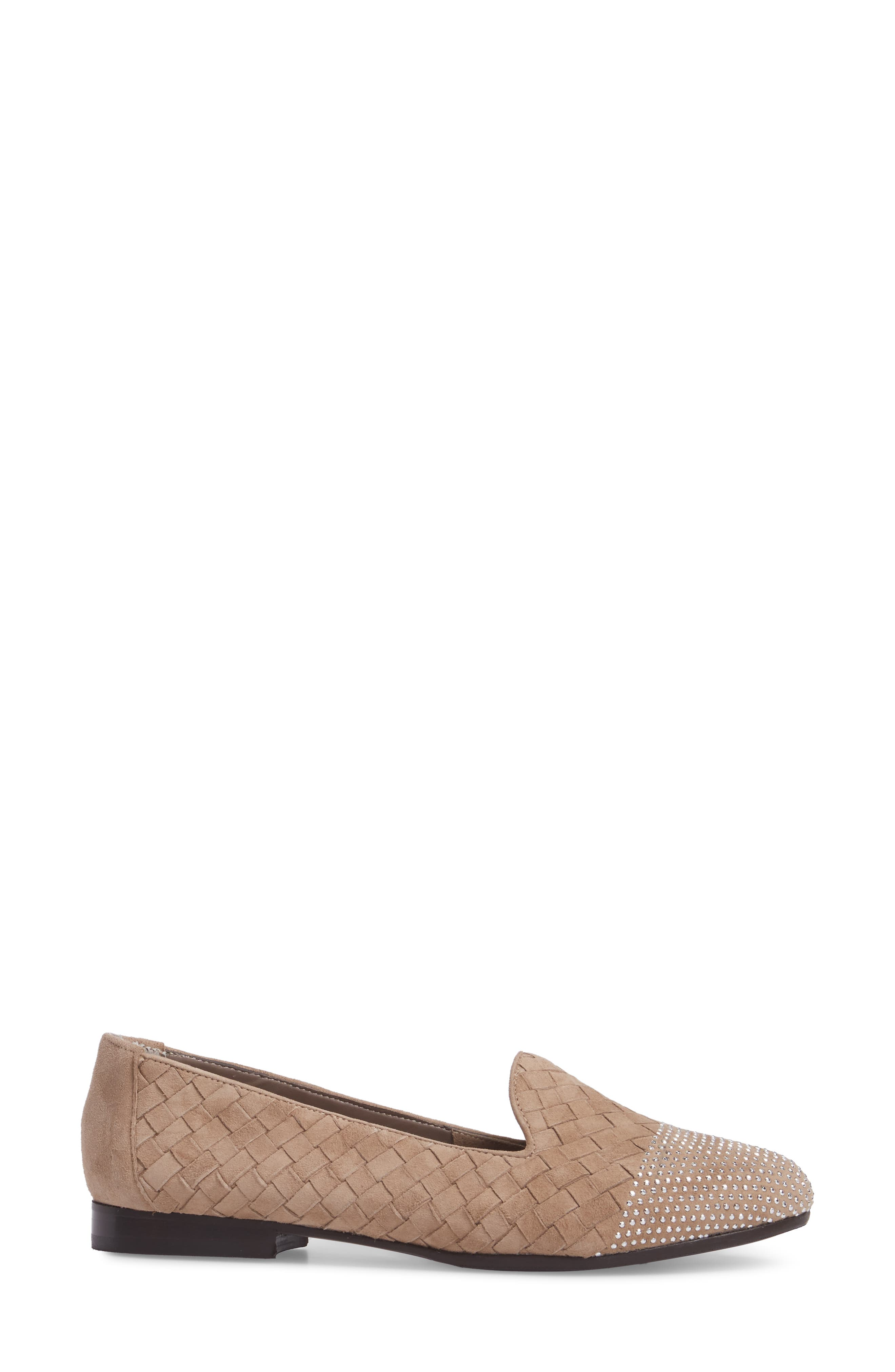 Nicia Flat,                             Alternate thumbnail 3, color,                             Light Taupe Suede