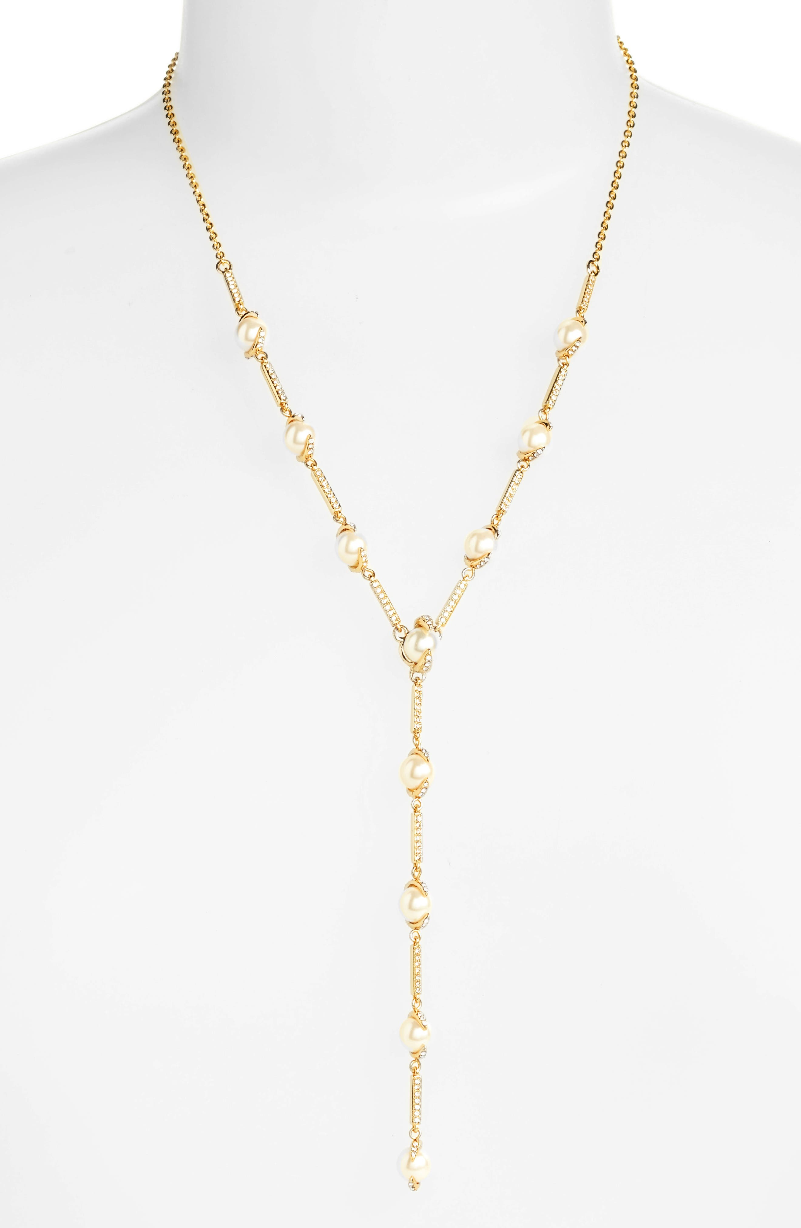 Imitation Pearl & Crystal Y-Necklace,                         Main,                         color, Gold