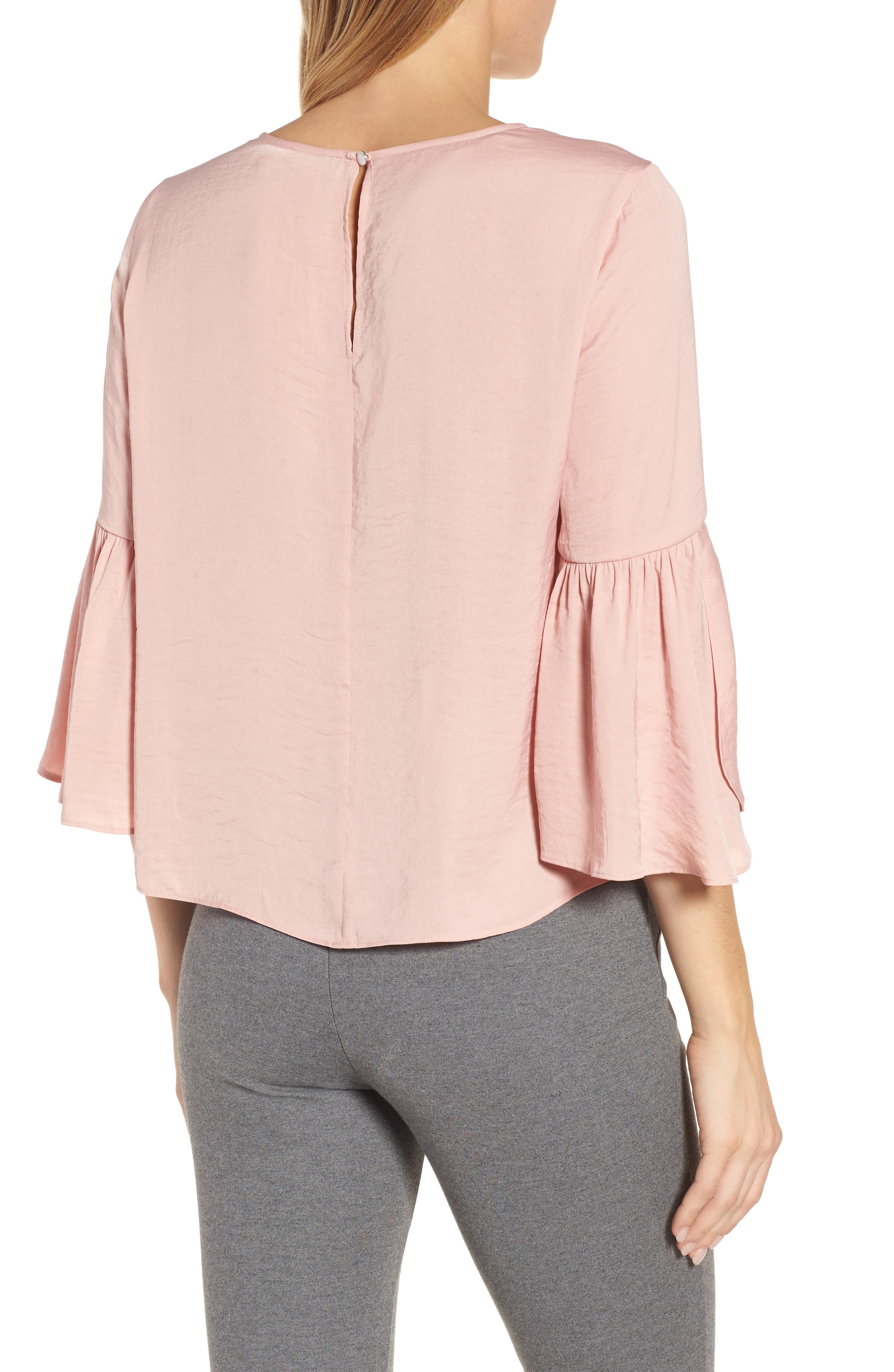 Alternate Image 2  - Vince Camuto Hammer Satin Bell Sleeve Blouse