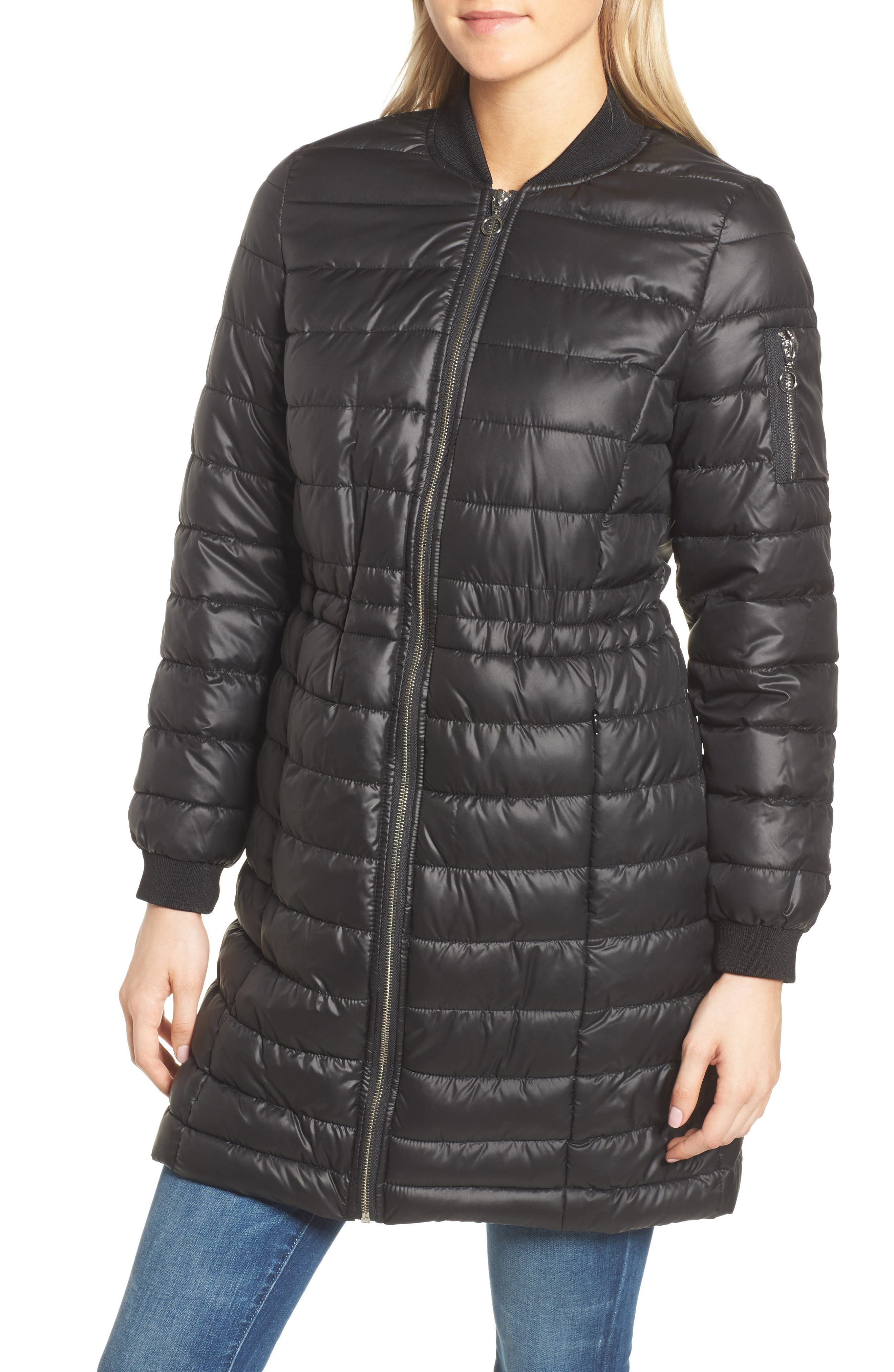 Lightweight Quilted Puffer Coat,                             Main thumbnail 1, color,                             Black