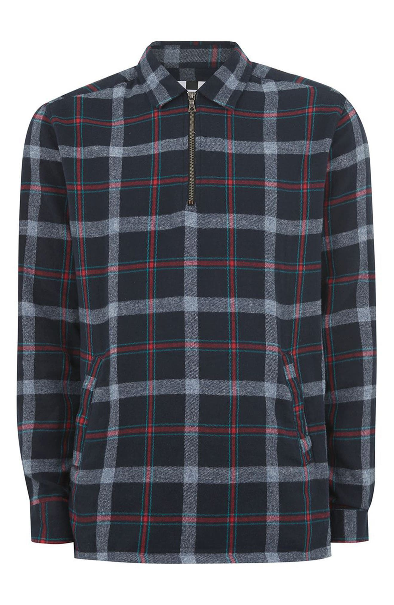 Half Zip Check Shirt,                             Alternate thumbnail 4, color,                             Blue Multi