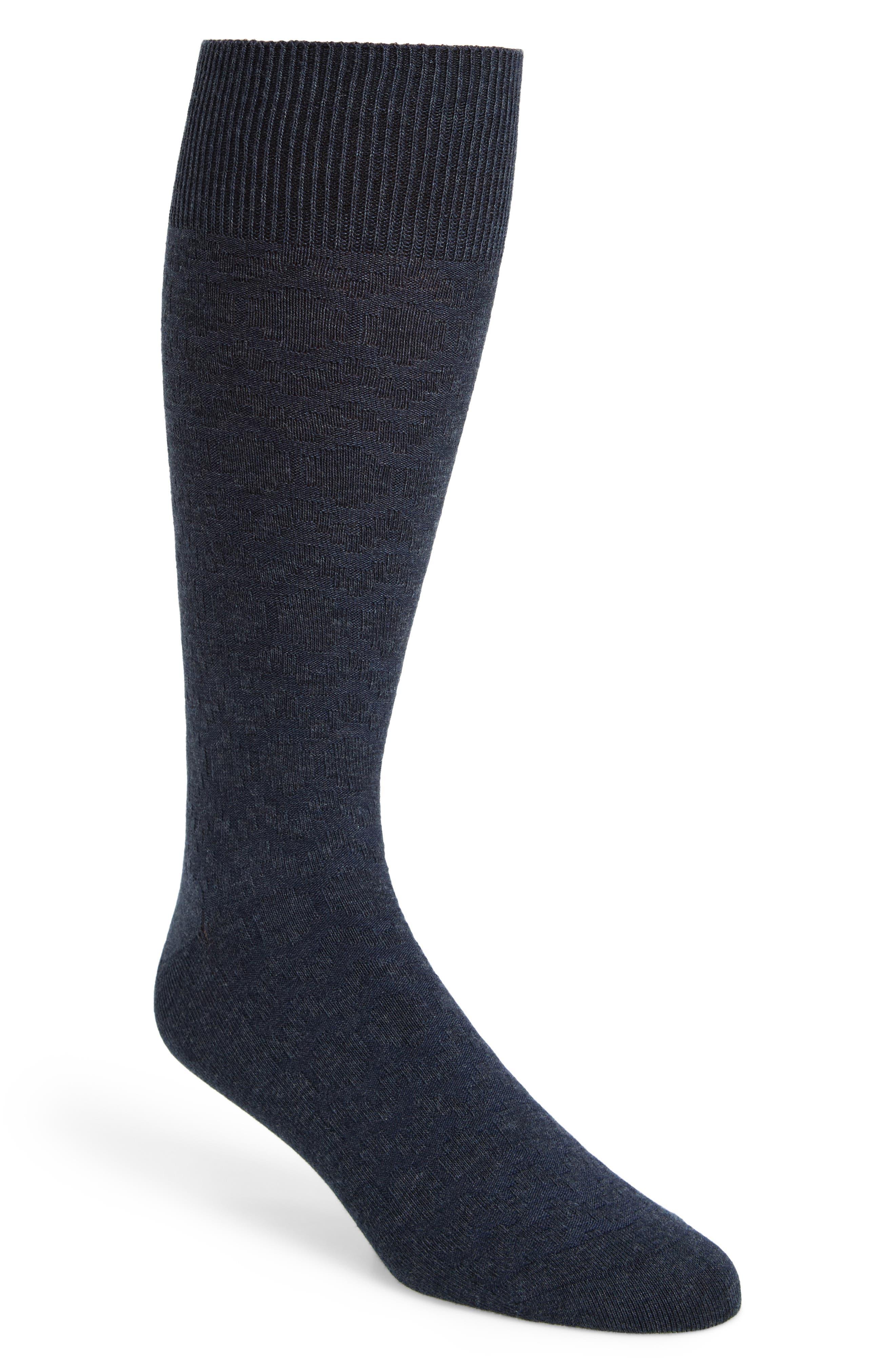 Rug Stripe Texture Socks,                         Main,                         color, Navy Heather