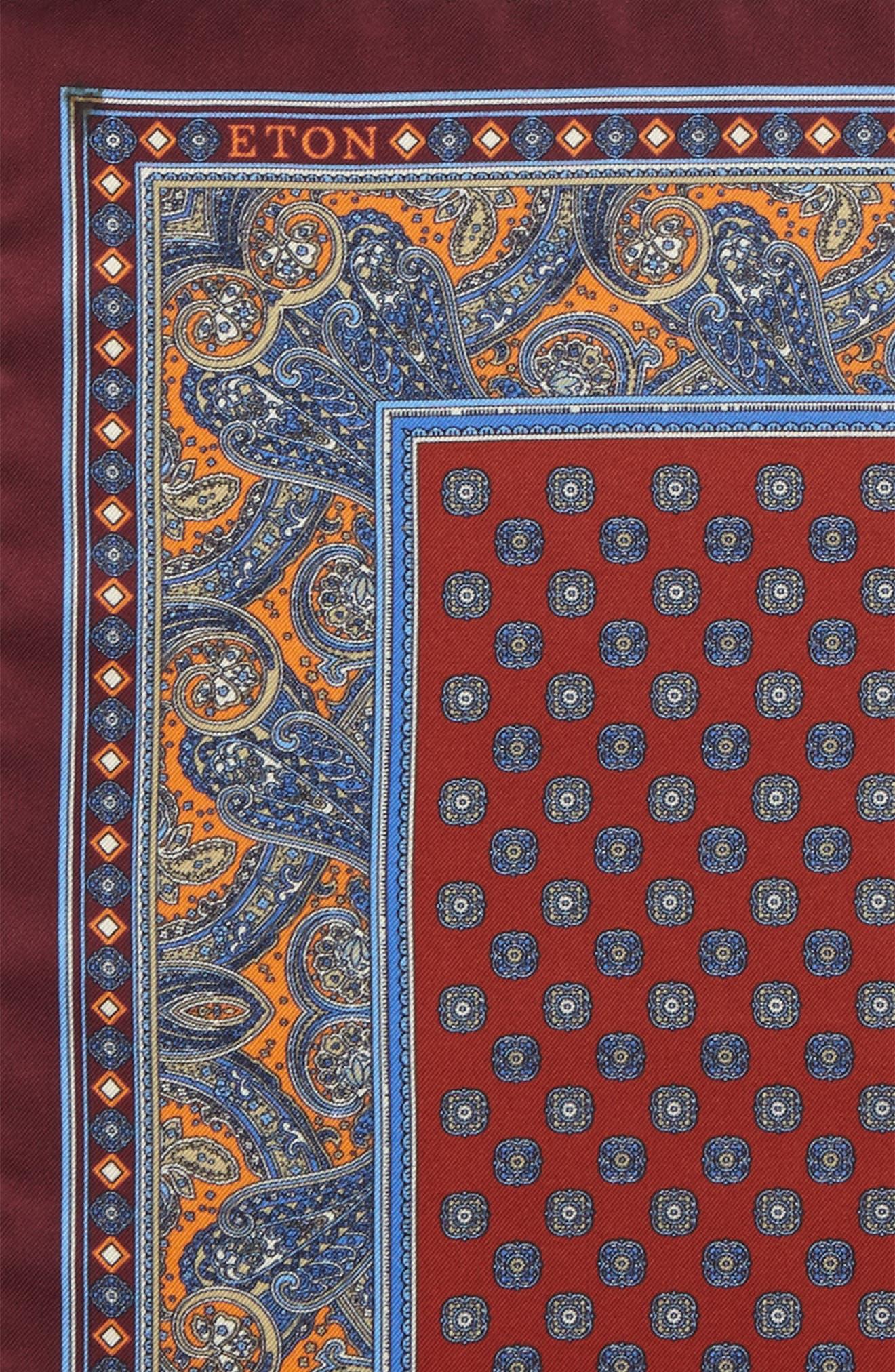 Paisley Silk Pocket Square,                             Alternate thumbnail 3, color,                             Orange